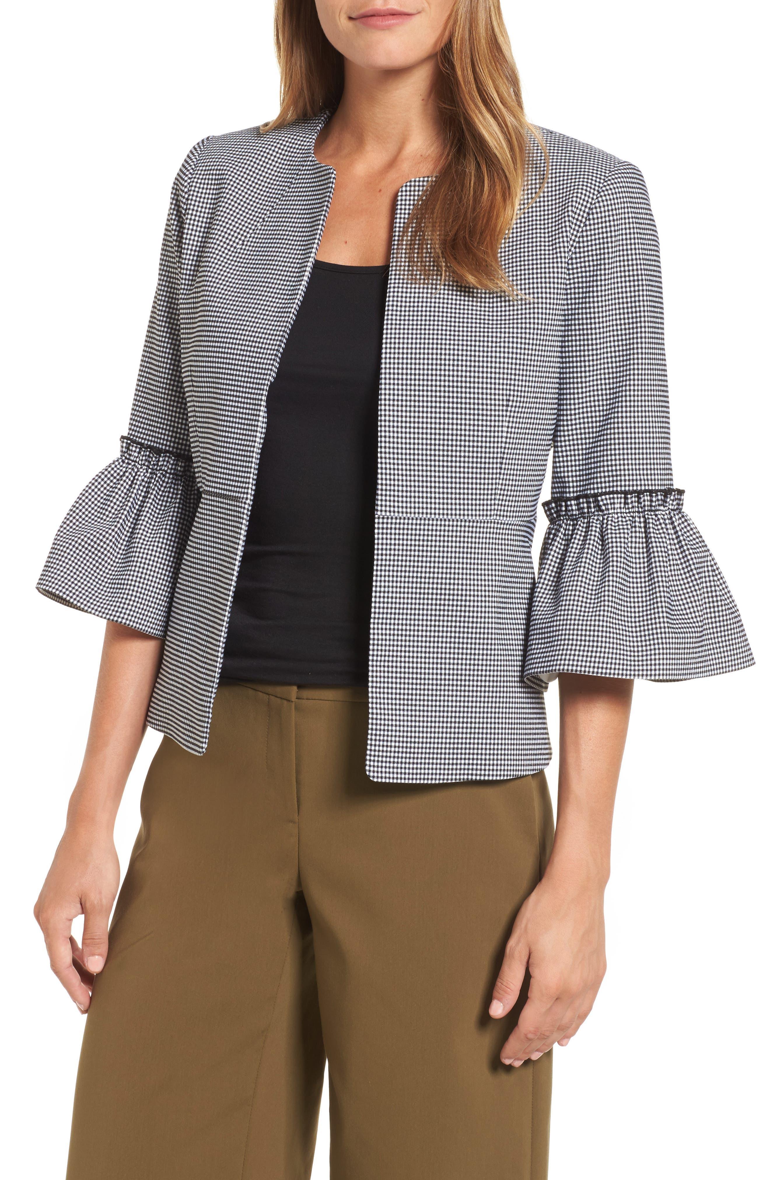 Ruffle Sleeve Open Jacket,                         Main,                         color, 001