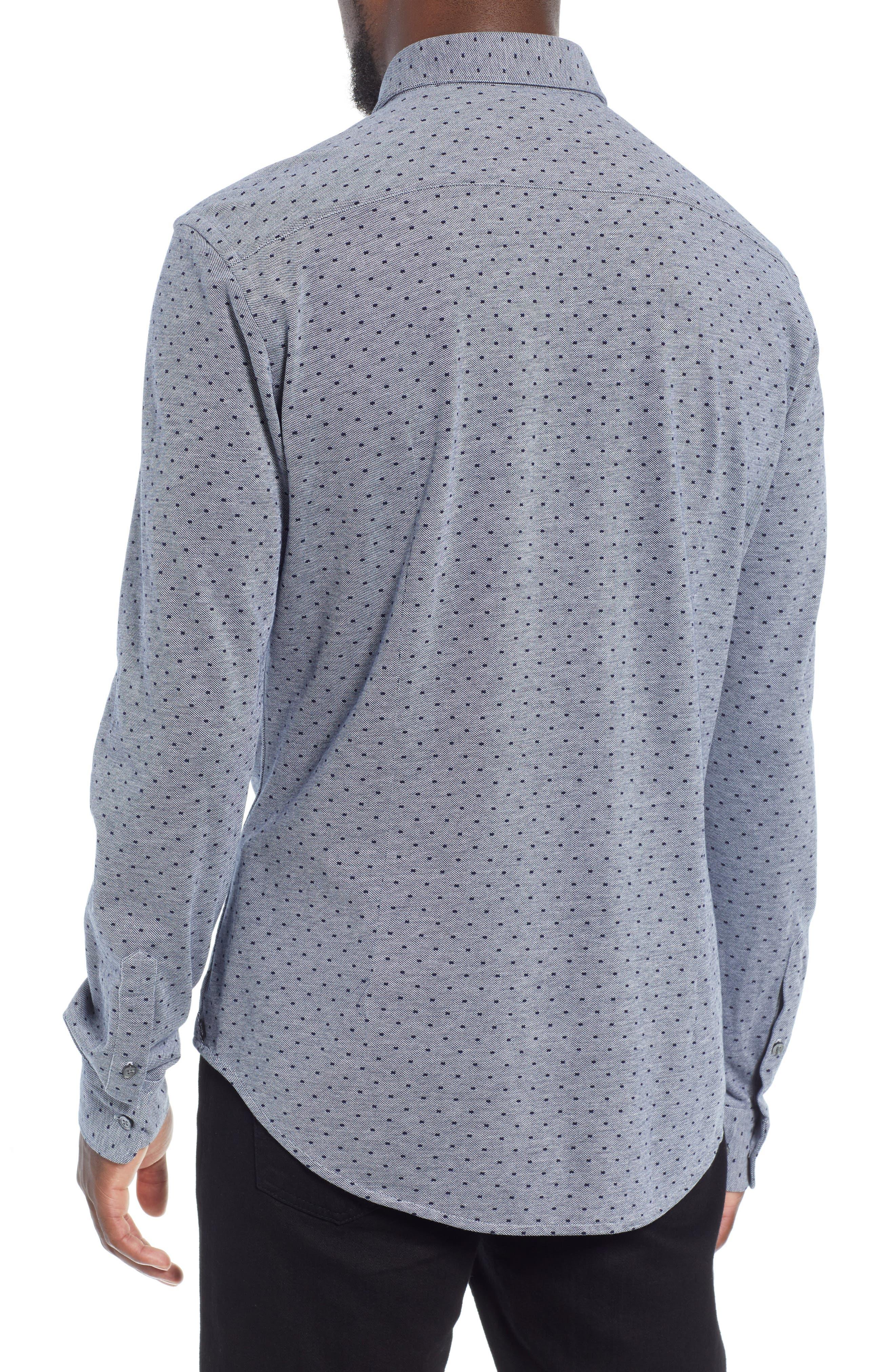 Ronni Slim Fit Dot Sport Shirt,                             Alternate thumbnail 3, color,                             BLUE