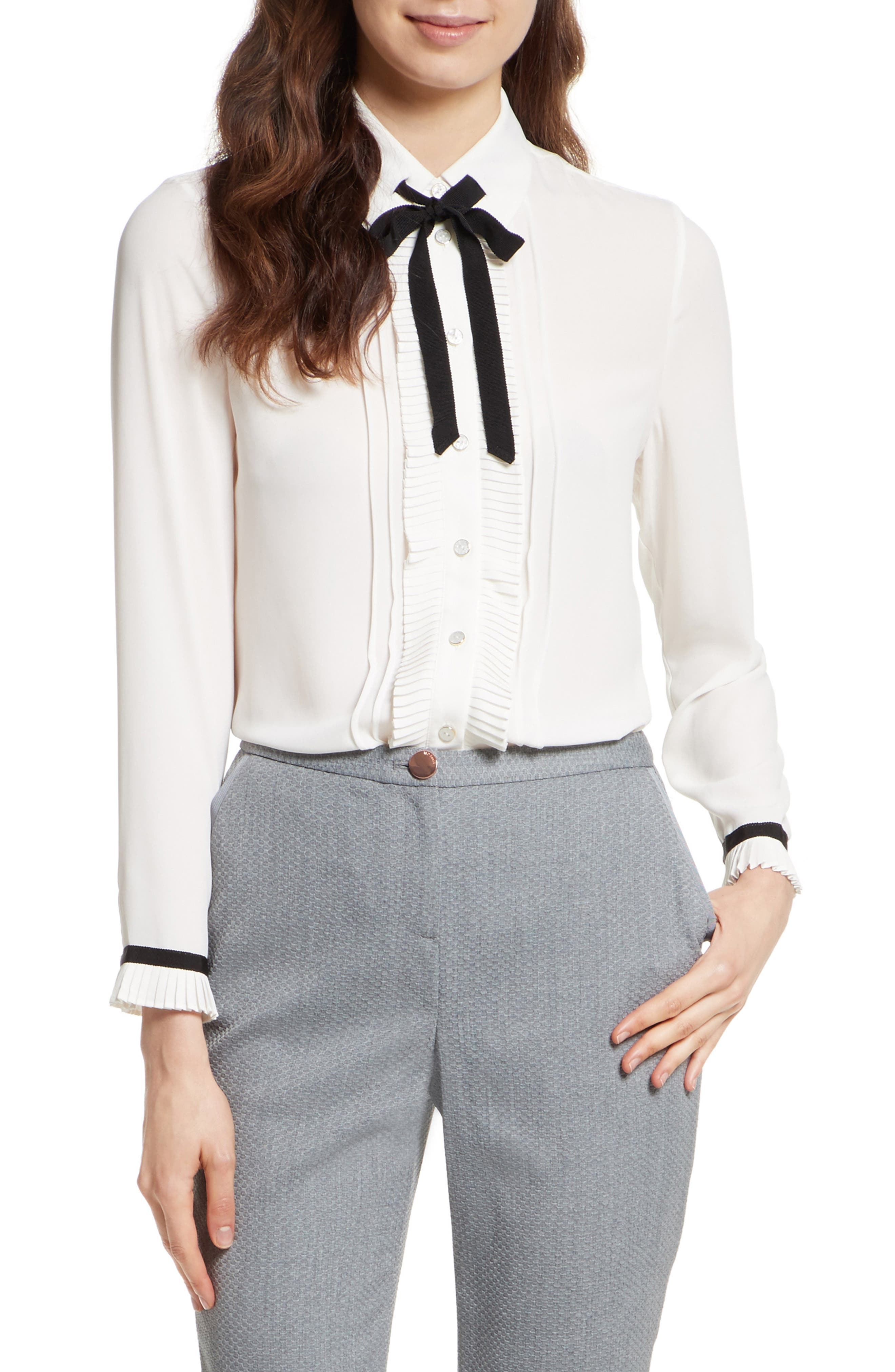 TED BAKER LONDON Pleated Frill Tie Neck Shirt, Main, color, 110