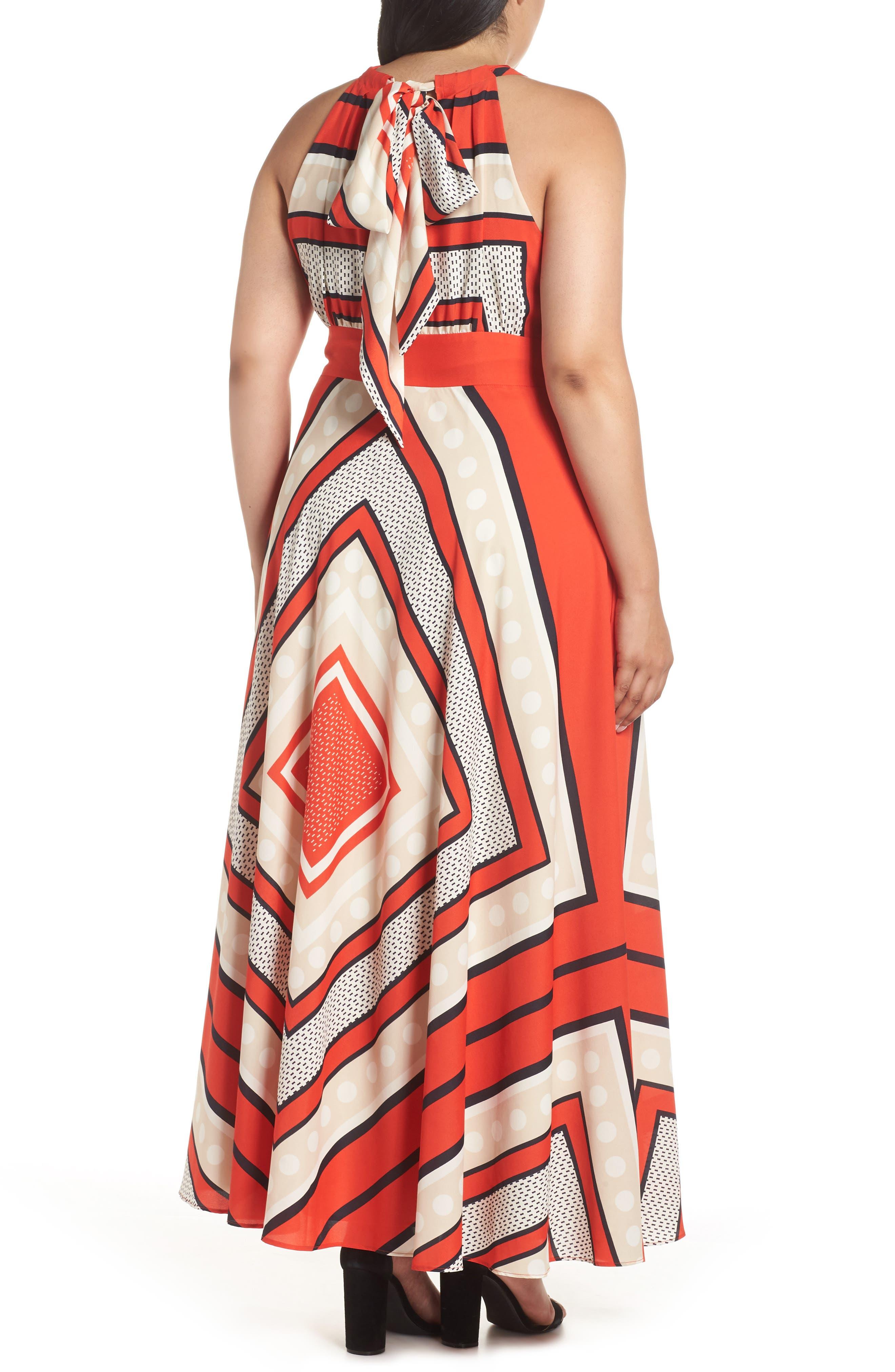 ELIZA J,                             Halter Scarf Print Woven Maxi Dress,                             Alternate thumbnail 2, color,                             PRINT