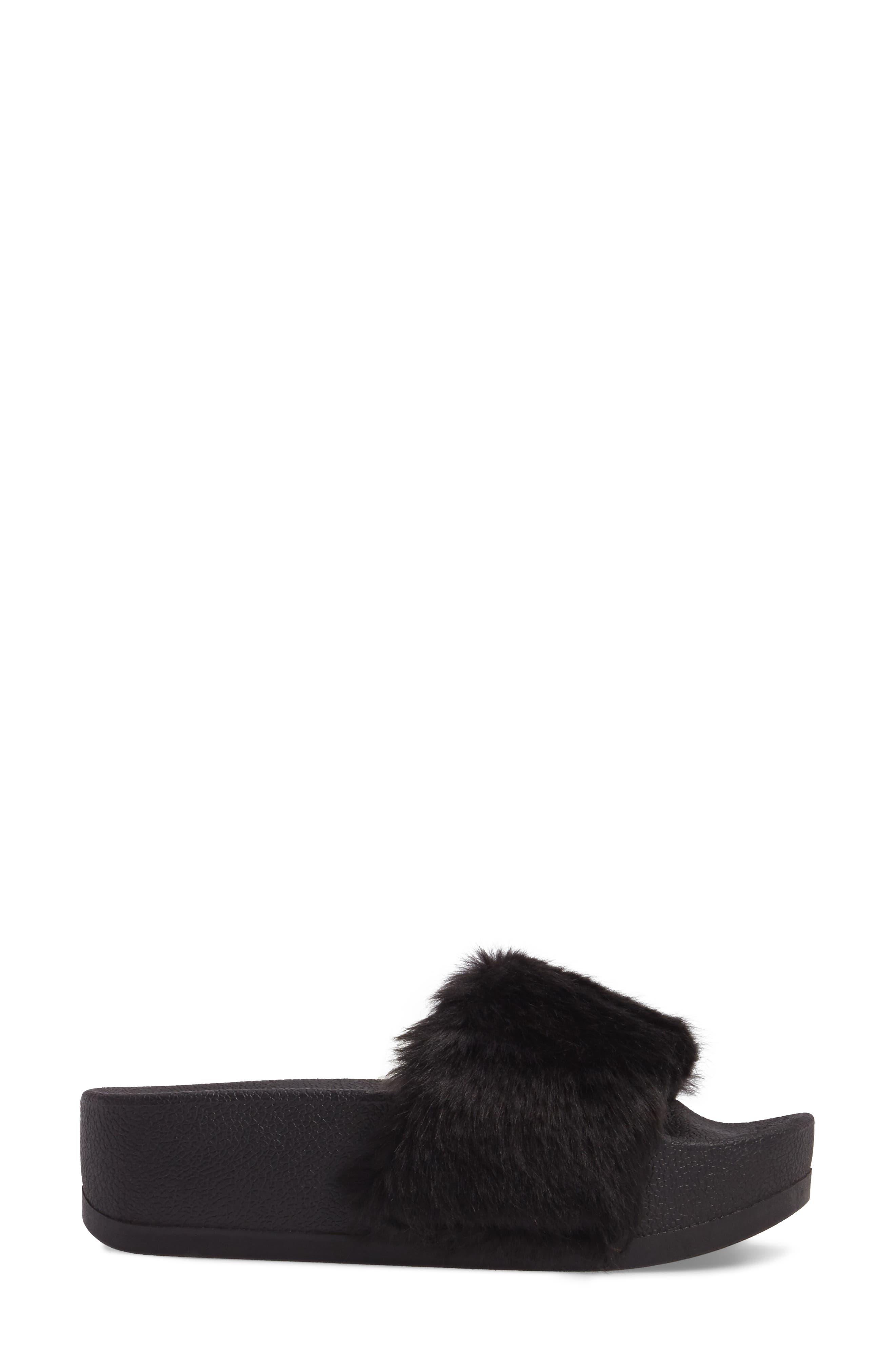 STEVE MADDEN,                             Softey Faux Fur Platform Slide,                             Alternate thumbnail 3, color,                             001