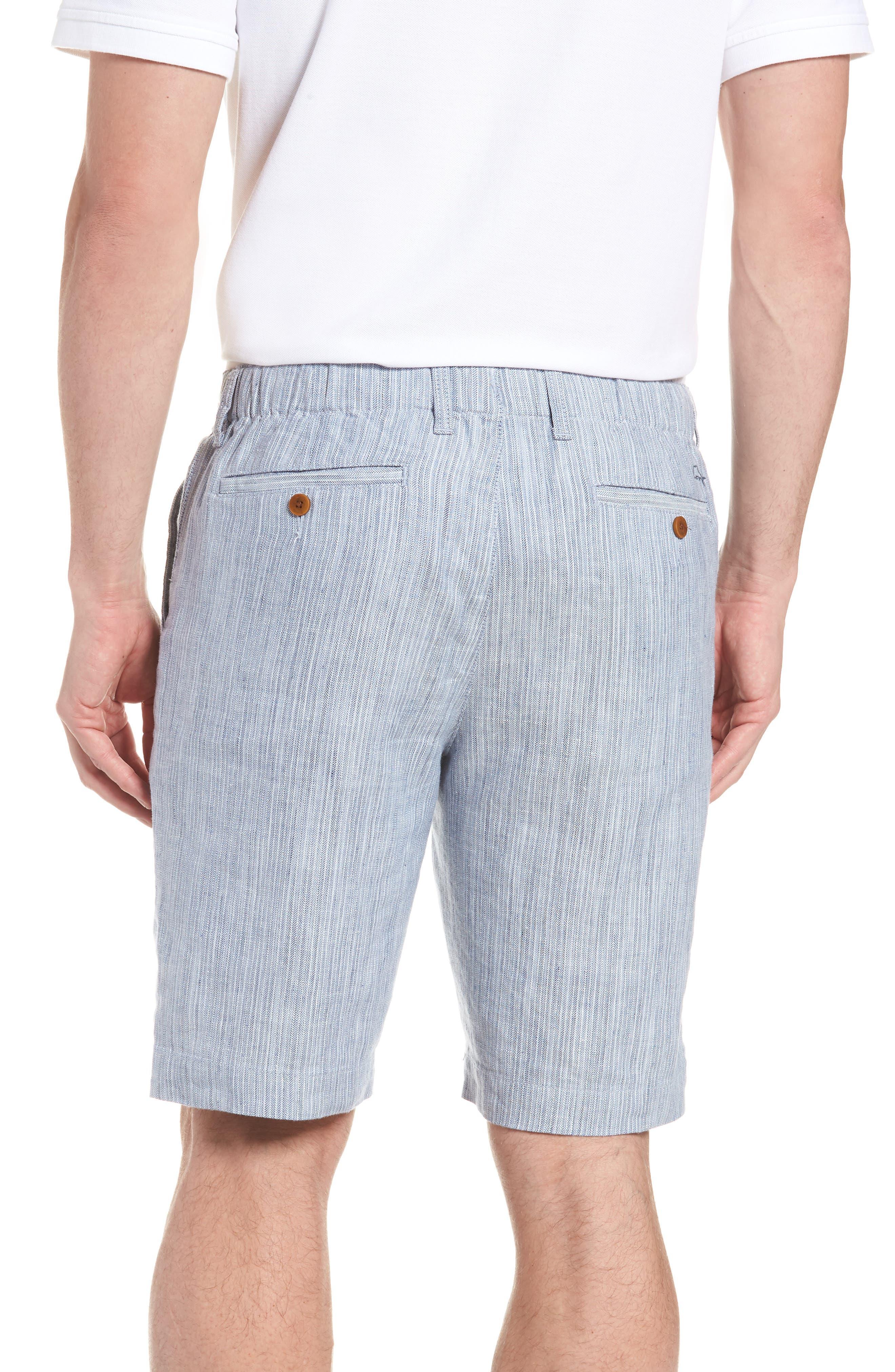 Harbor Herringbone Linen Blend Shorts,                             Alternate thumbnail 2, color,                             CHAMBRAY