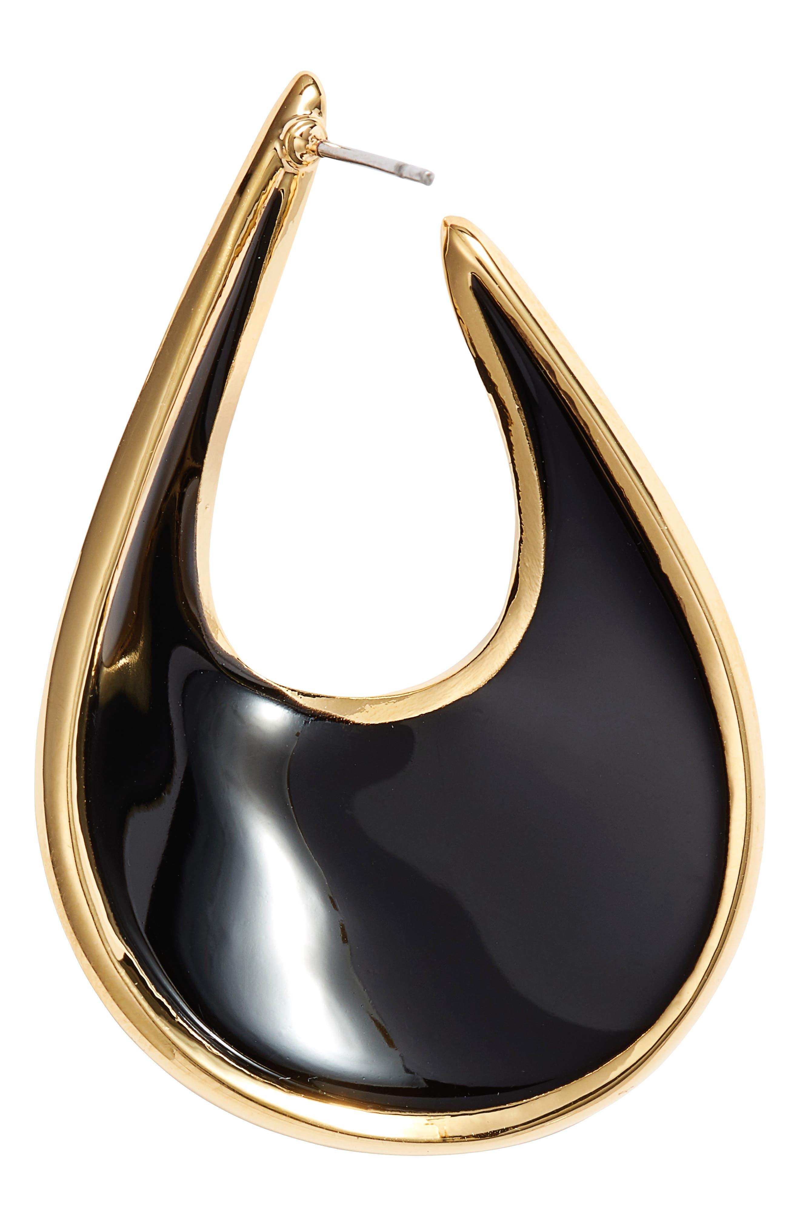 Organic Shape Hoop Earrings,                             Alternate thumbnail 3, color,                             010