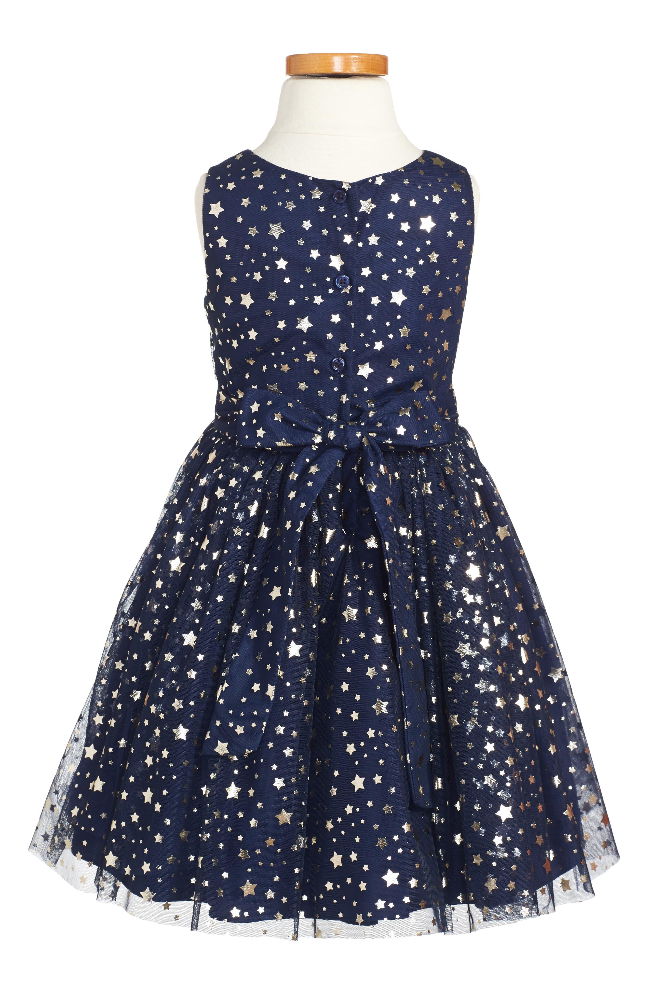 Metallic Stars Party Dress,                             Main thumbnail 1, color,                             450
