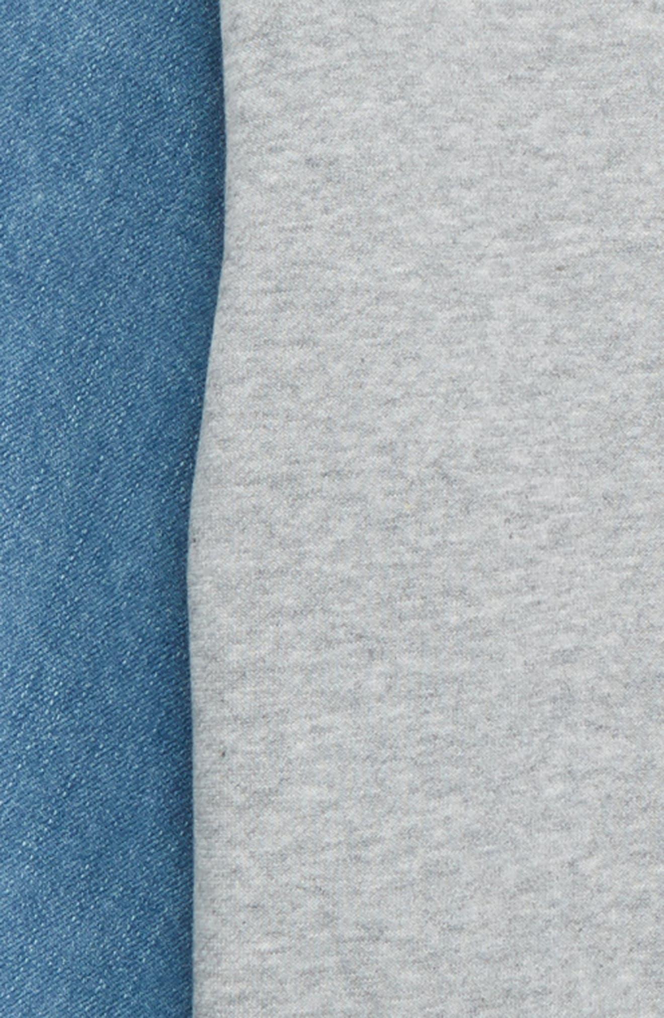 Denim Puff Sleeve Sweatshirt Dress,                             Alternate thumbnail 3, color,                             030