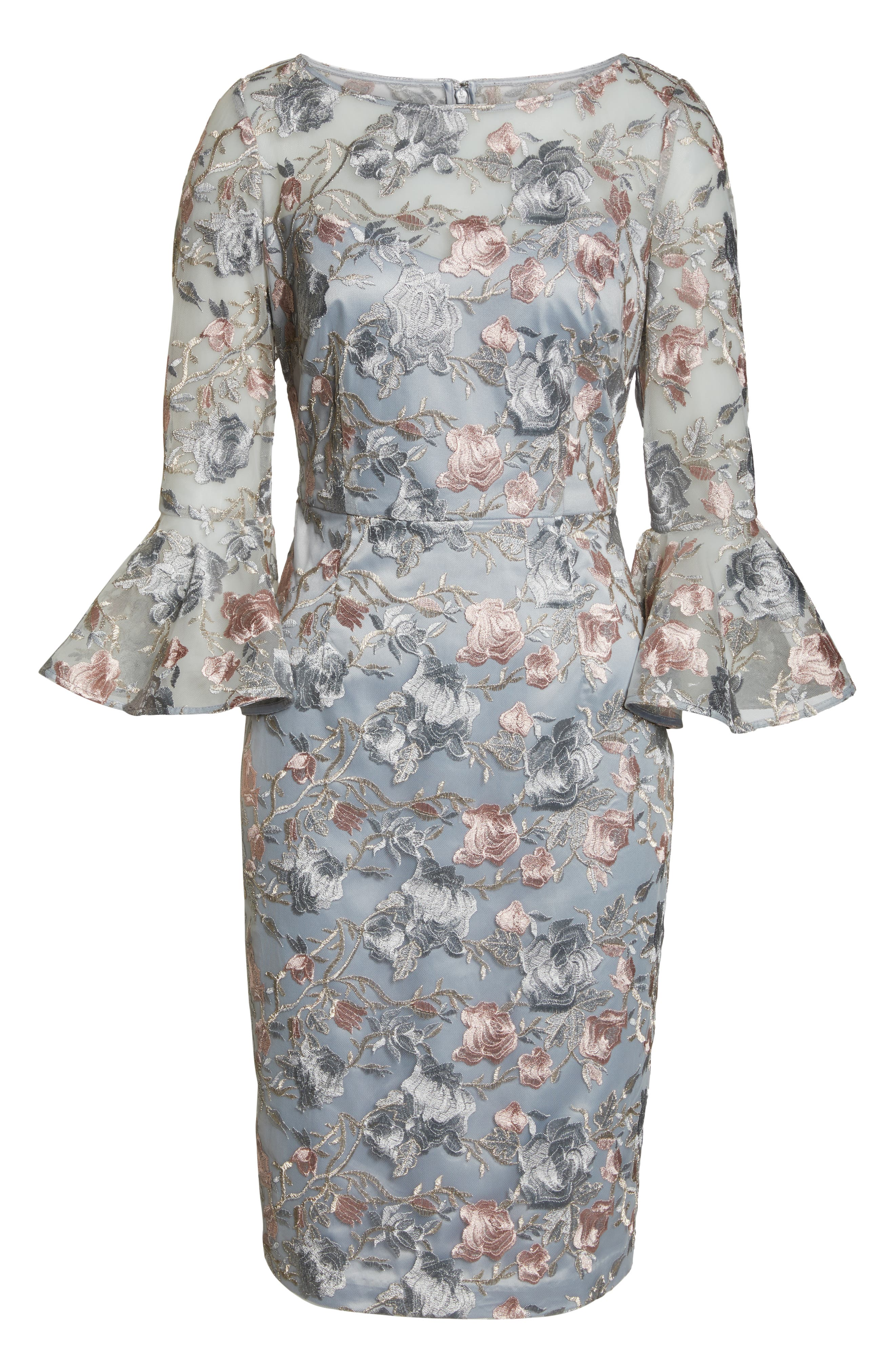 Floral Embroidered Sheath Dress,                             Alternate thumbnail 7, color,                             BLUE