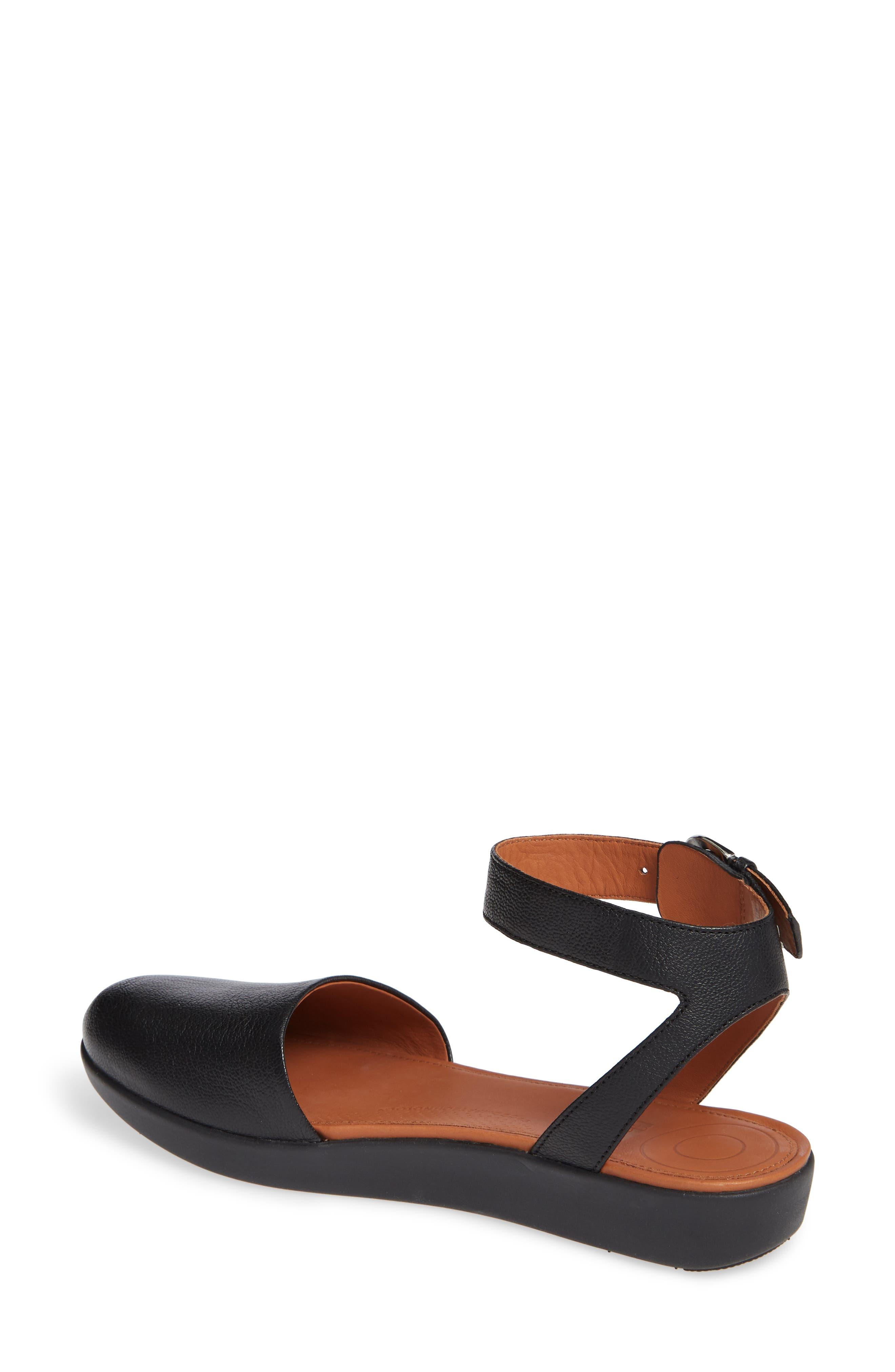 Cova Ankle Strap Sandal,                             Alternate thumbnail 2, color,                             BLACK LEATHER