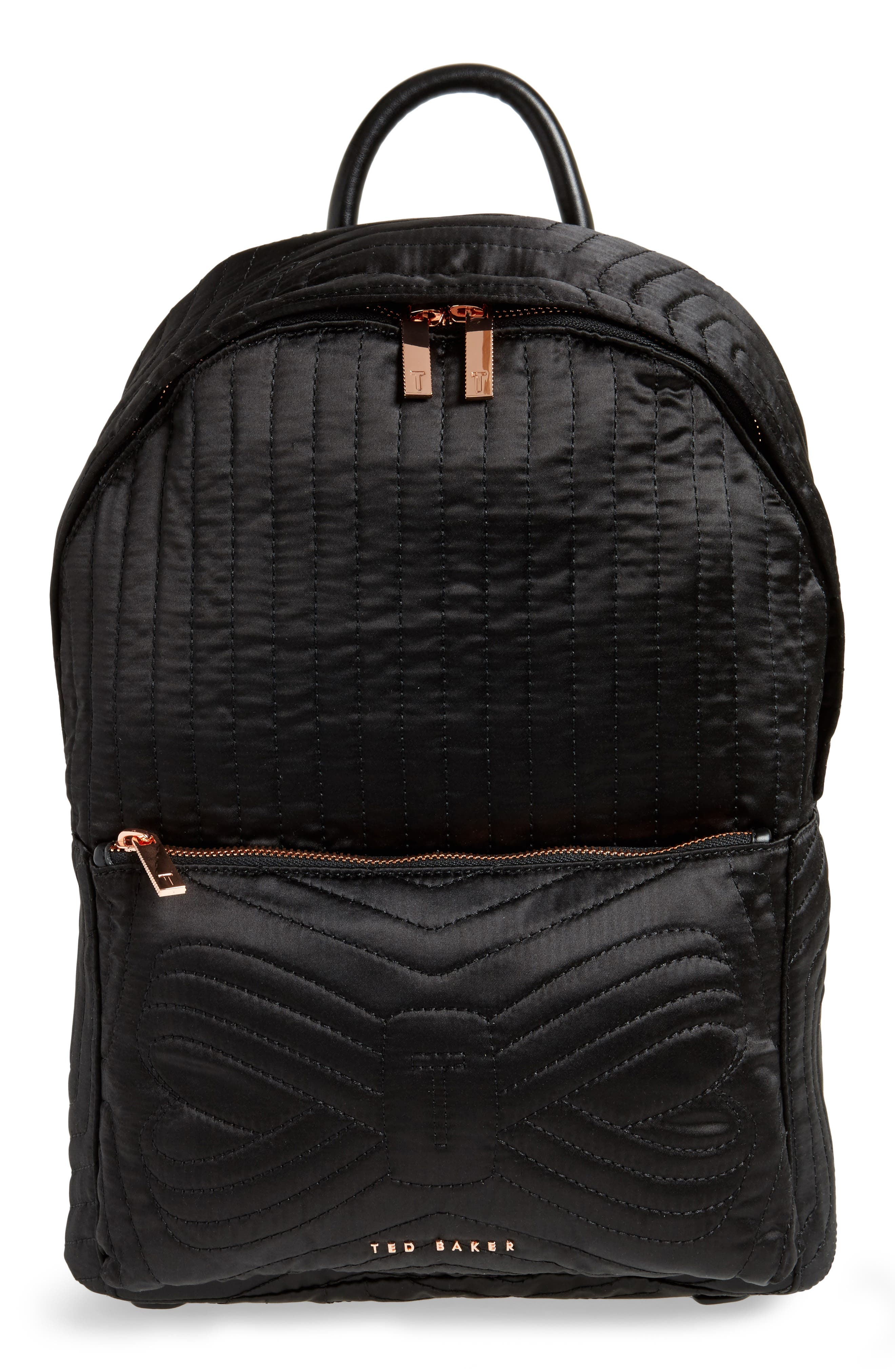 Akija Quilted Bow Backpack,                             Main thumbnail 1, color,                             001