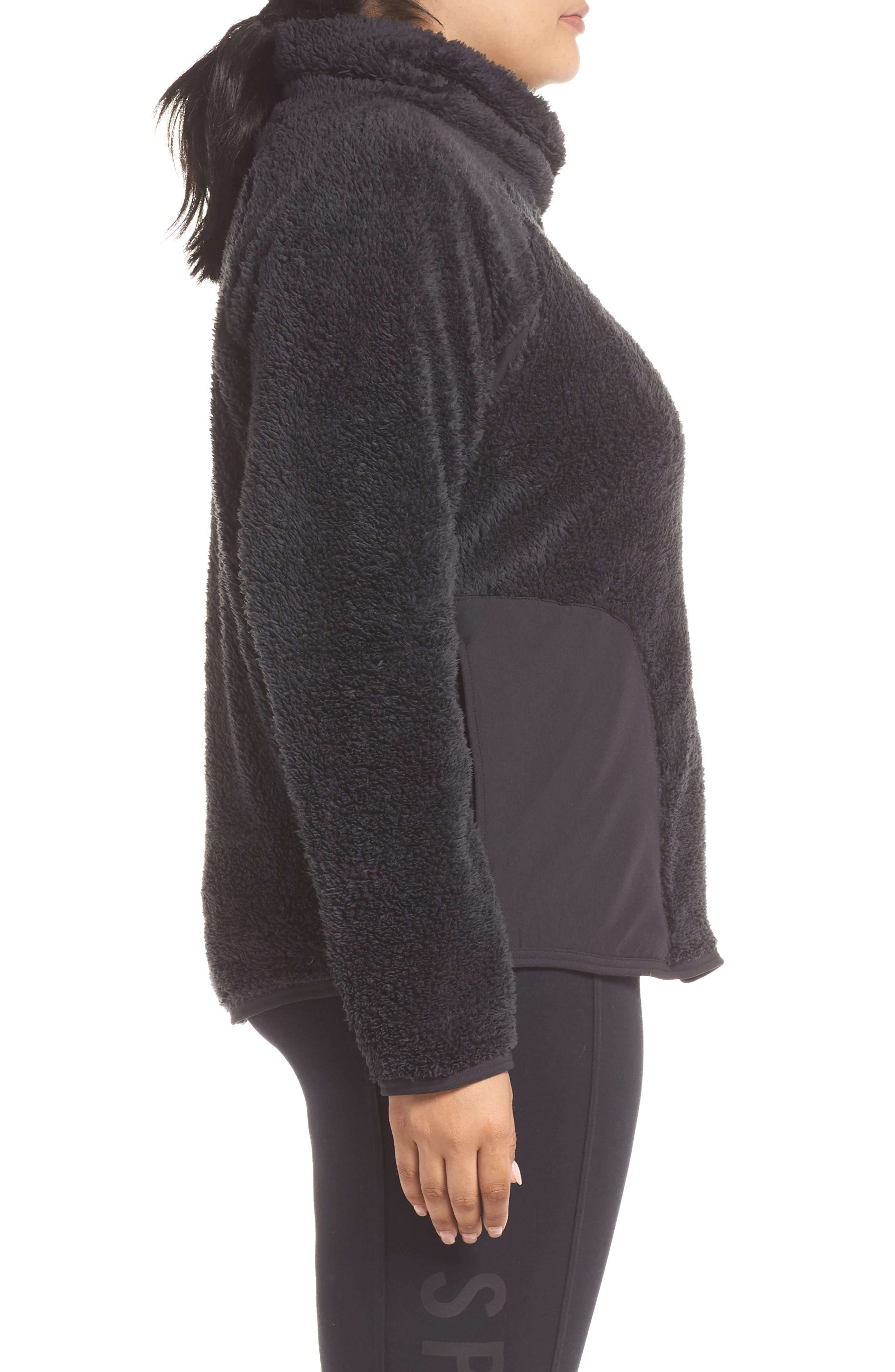 NIKE,                             Faux Shearling Pullover,                             Alternate thumbnail 4, color,                             BLACK/ BLACK