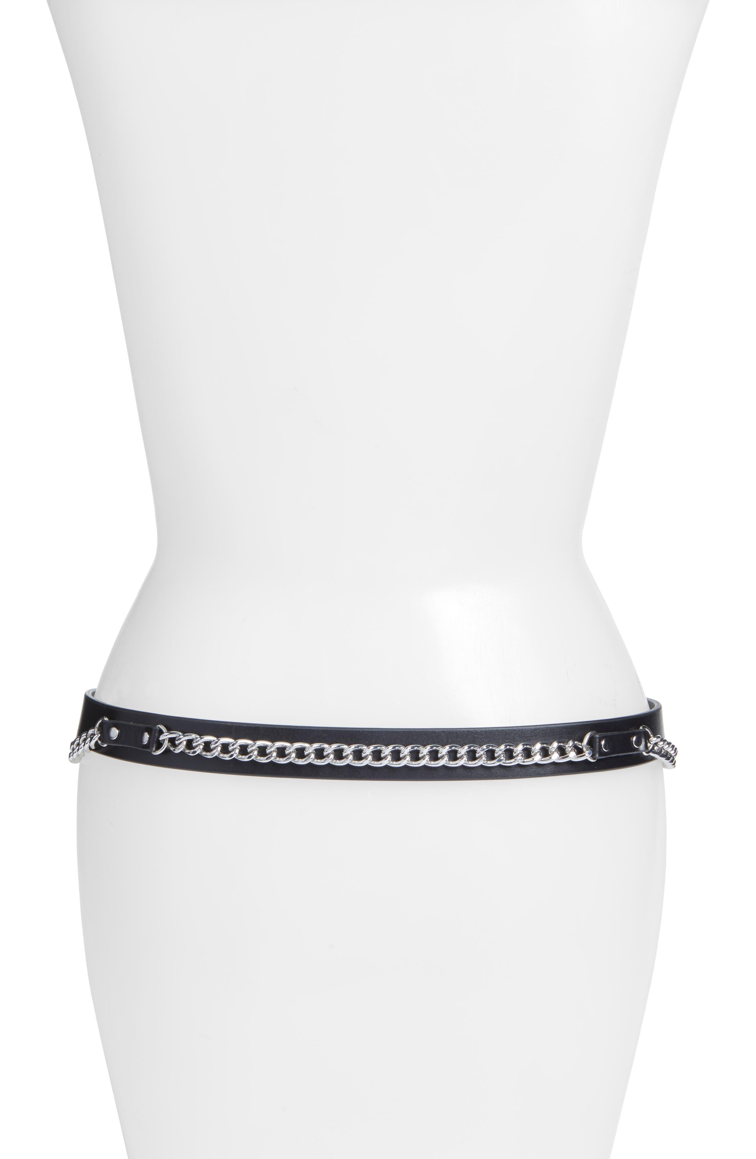 Farah Skinny Calfskin Leather Belt,                             Alternate thumbnail 2, color,                             001
