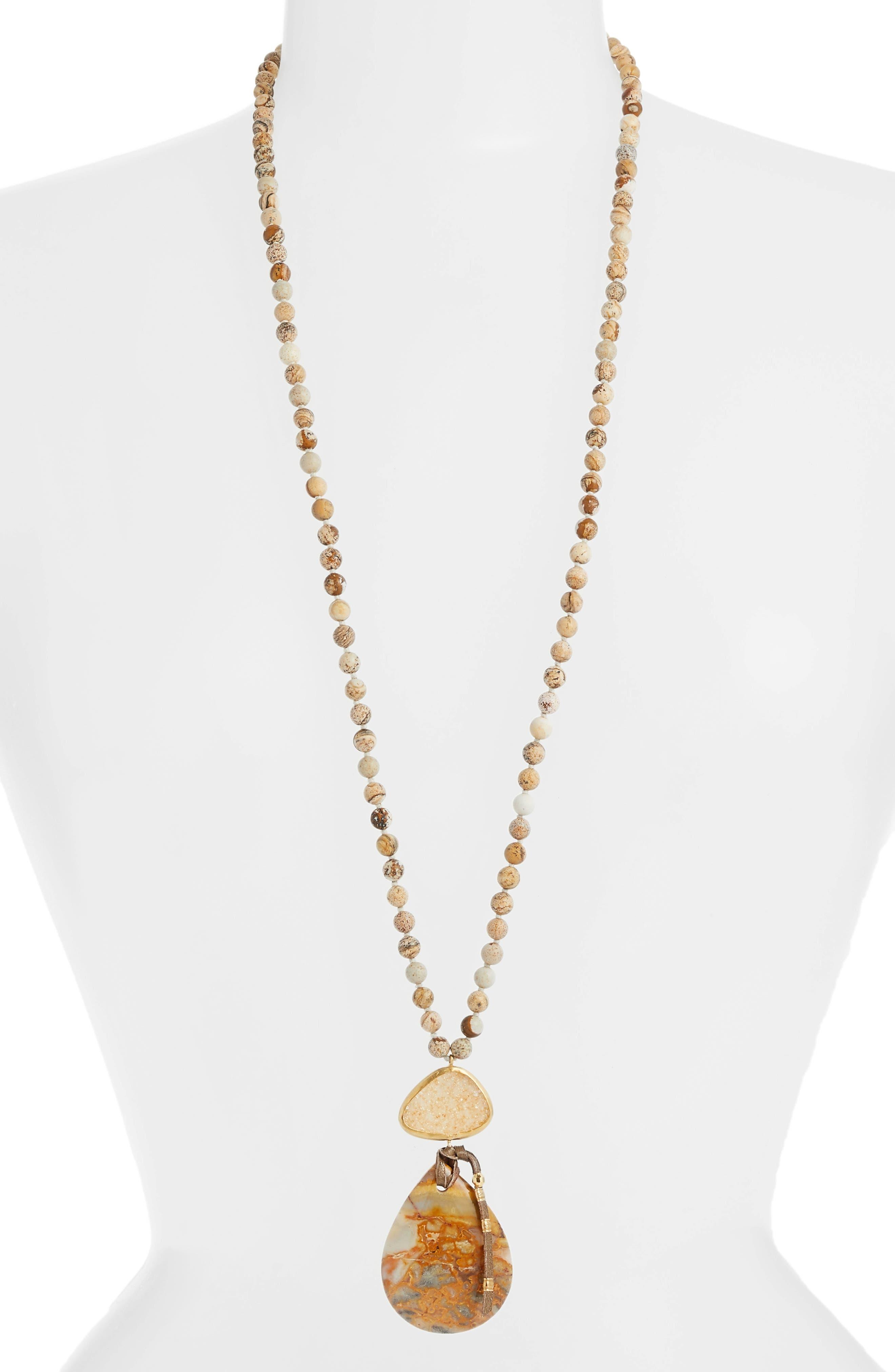 CHAN LUU Long Matte Picture Jasper Pendant Necklace, Main, color, 300