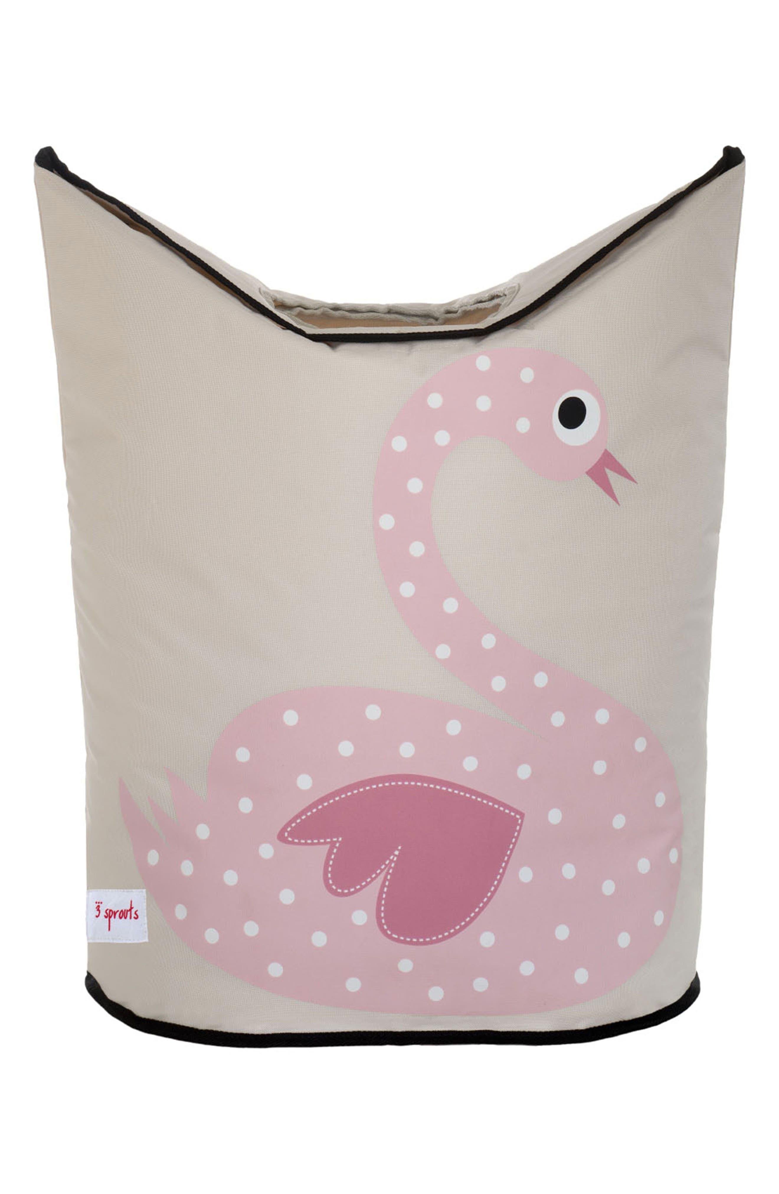Swan Canvas Laundry Hamper,                         Main,                         color, 650