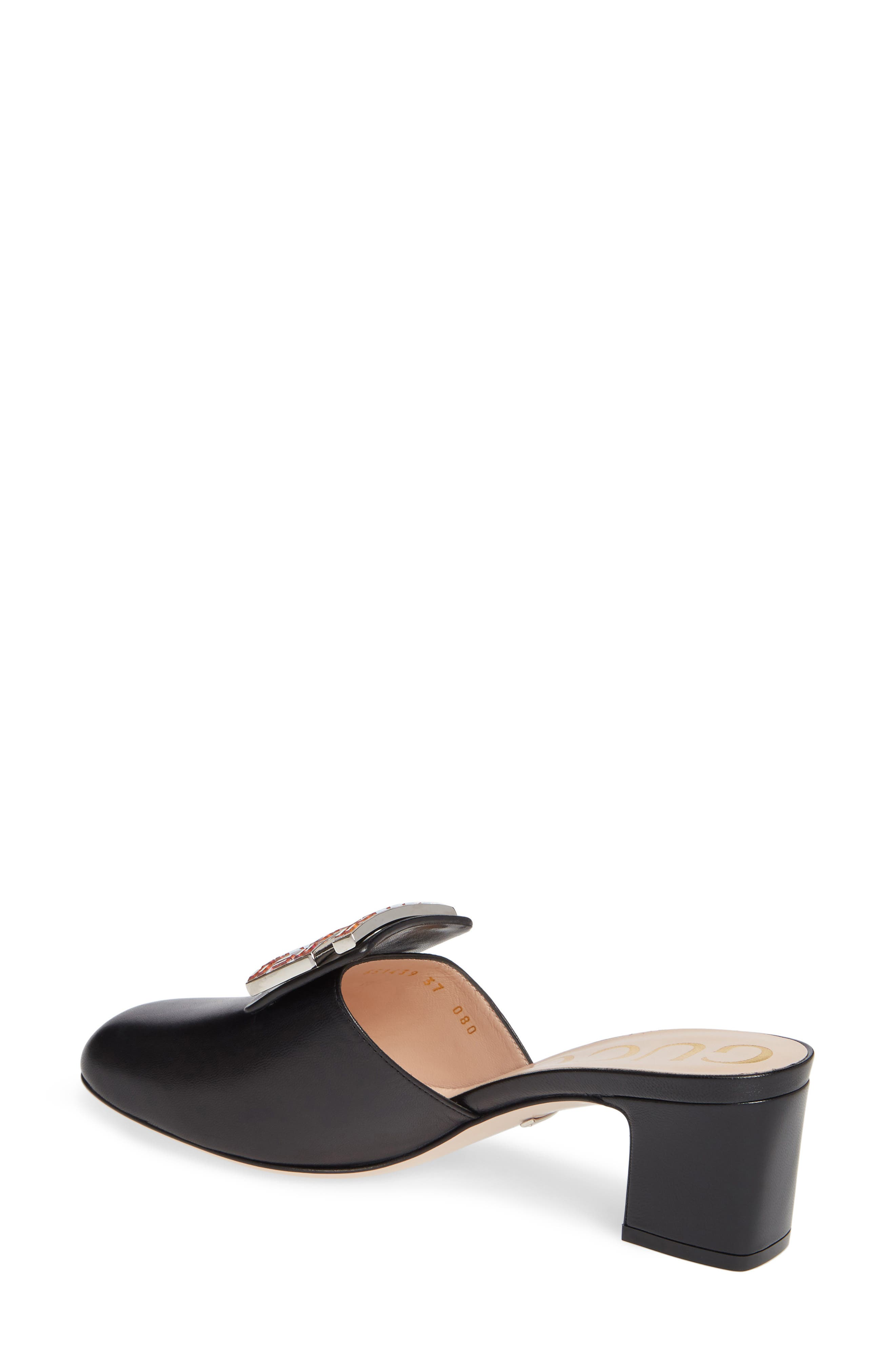 Madelyn Crystal G Mule,                             Alternate thumbnail 2, color,                             BLACK LEATHER