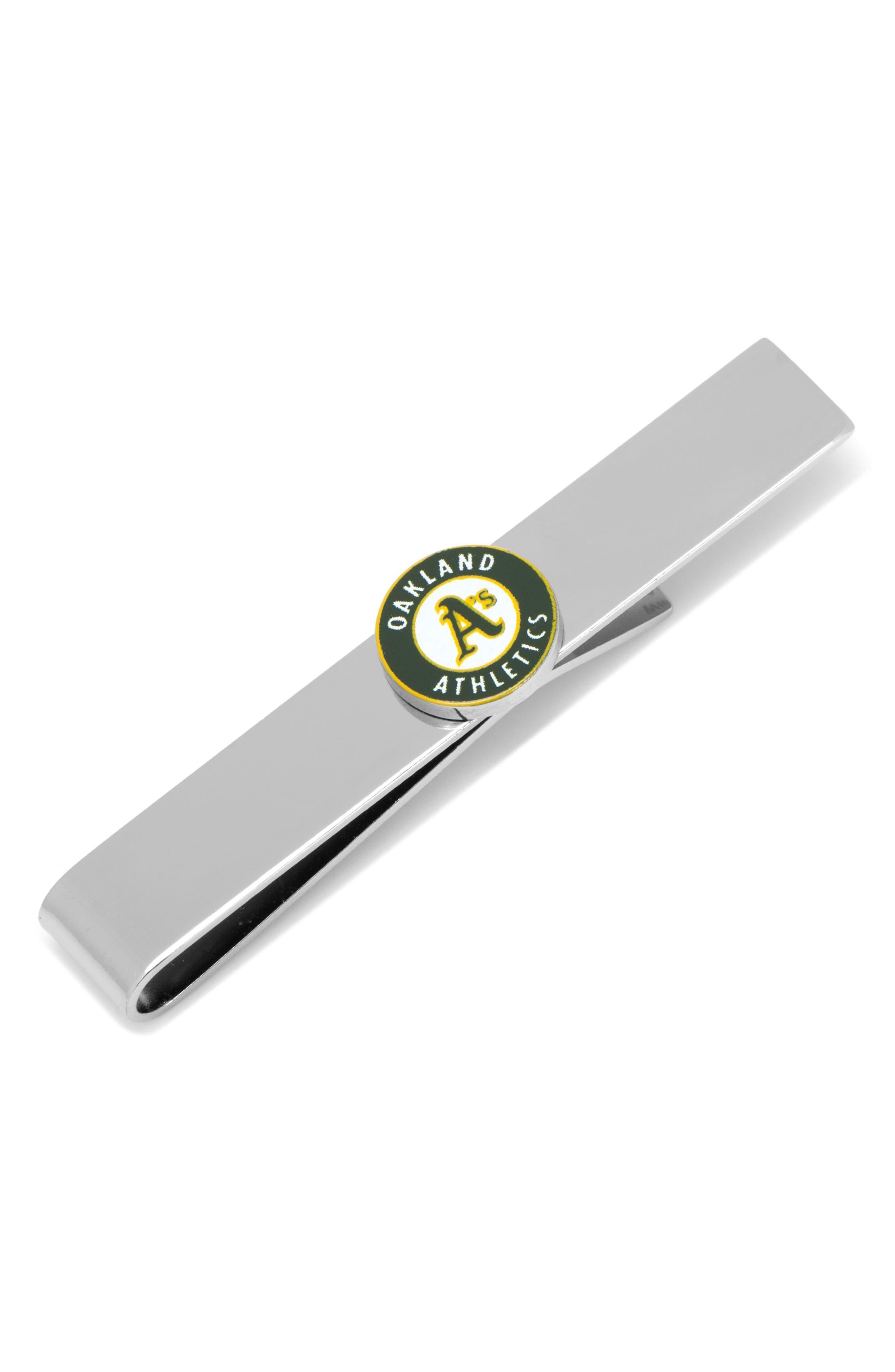 Oakland Athletics Tie Bar,                             Main thumbnail 1, color,                             GREEN/ SILVER
