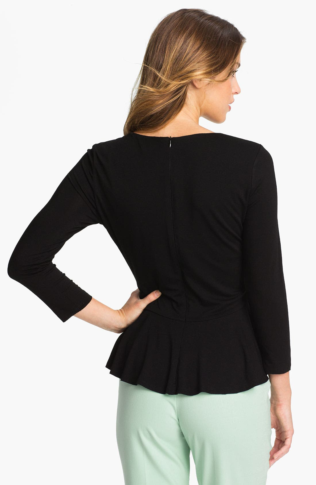Three Quarter Sleeve Peplum Top,                             Alternate thumbnail 2, color,                             001