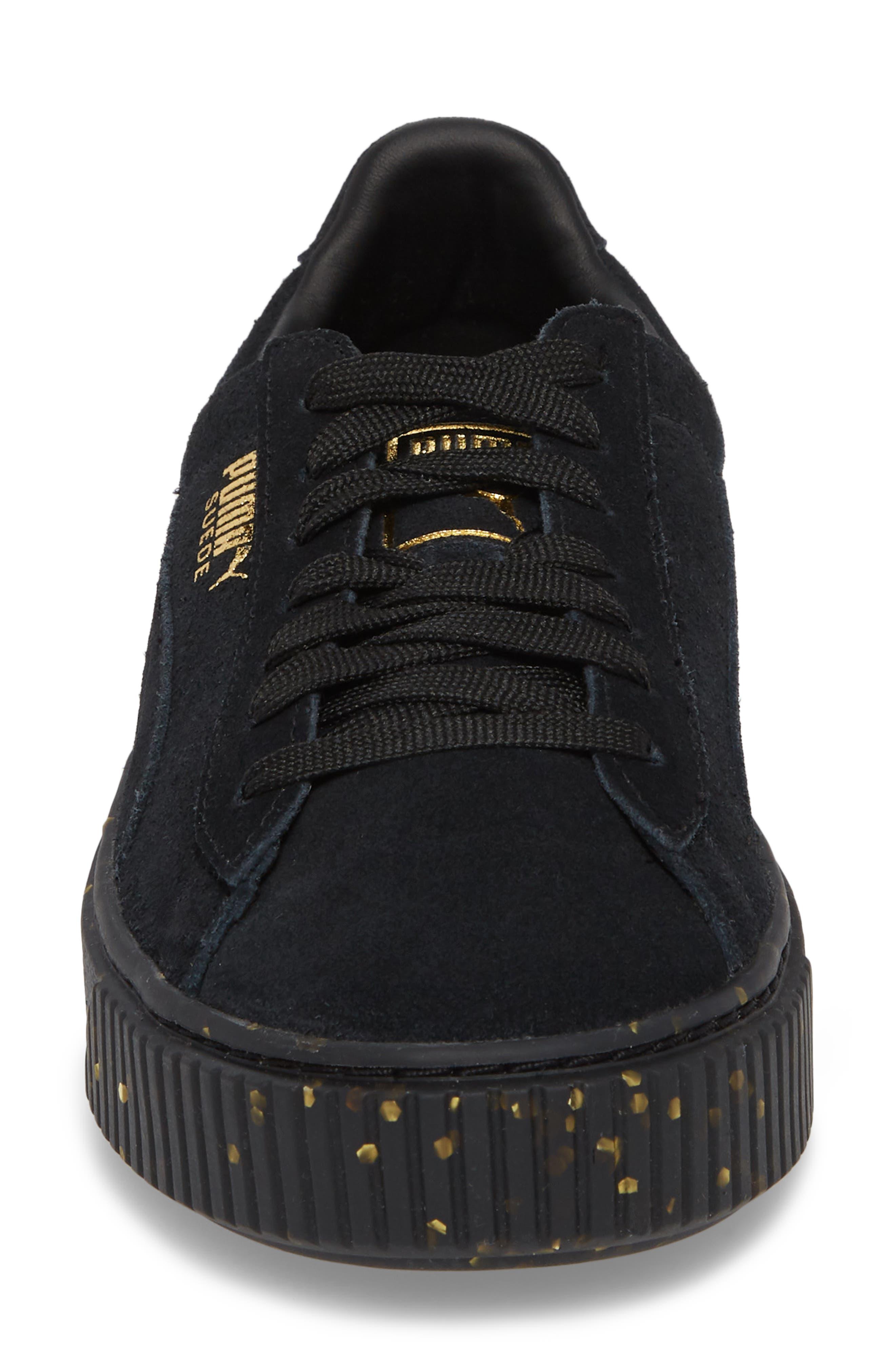 Suede Platform Sneaker,                             Alternate thumbnail 4, color,                             001