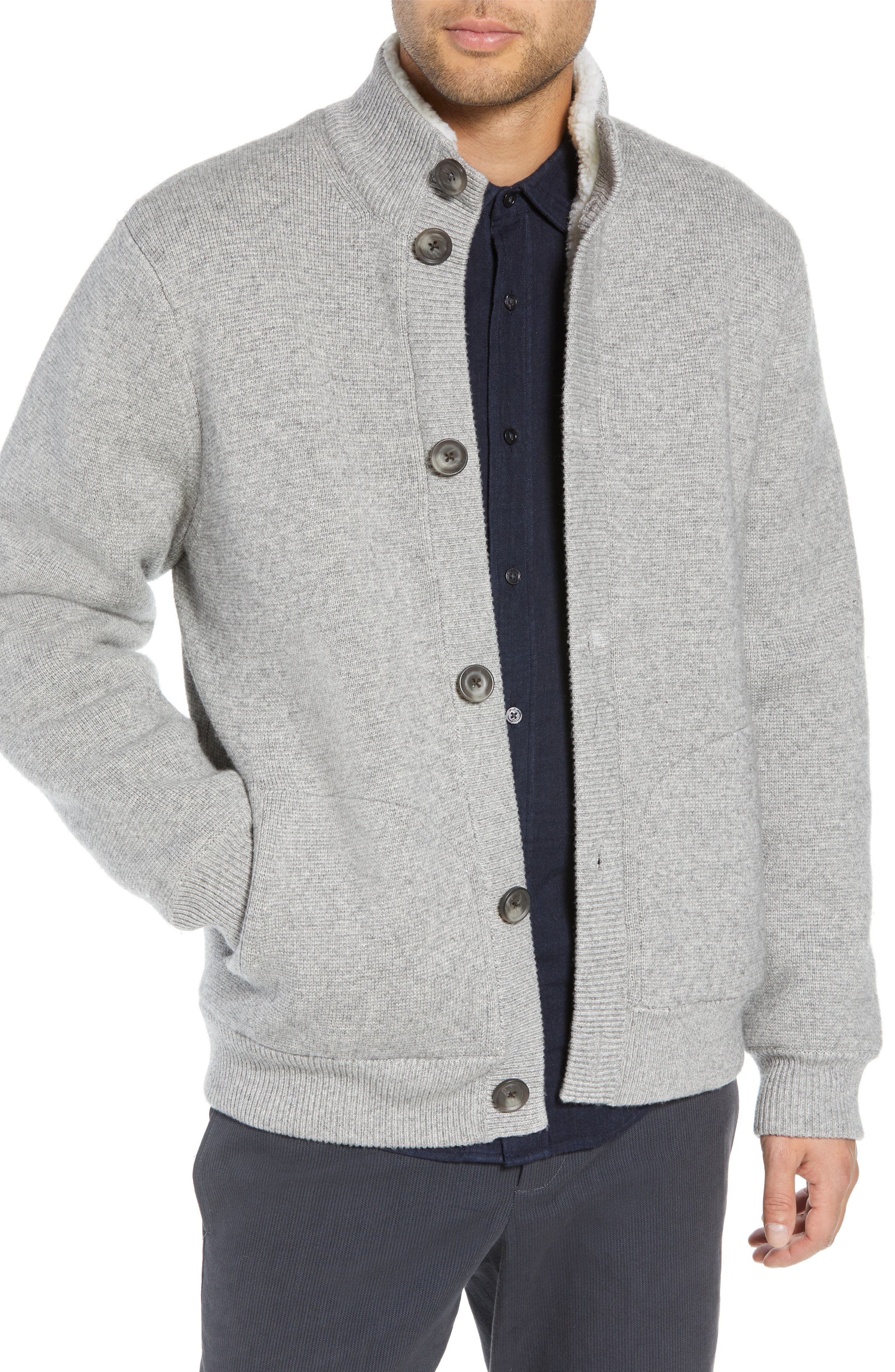 Regular Fit Wool Sweater with Faux Fur Lining,                         Main,                         color, H GREY