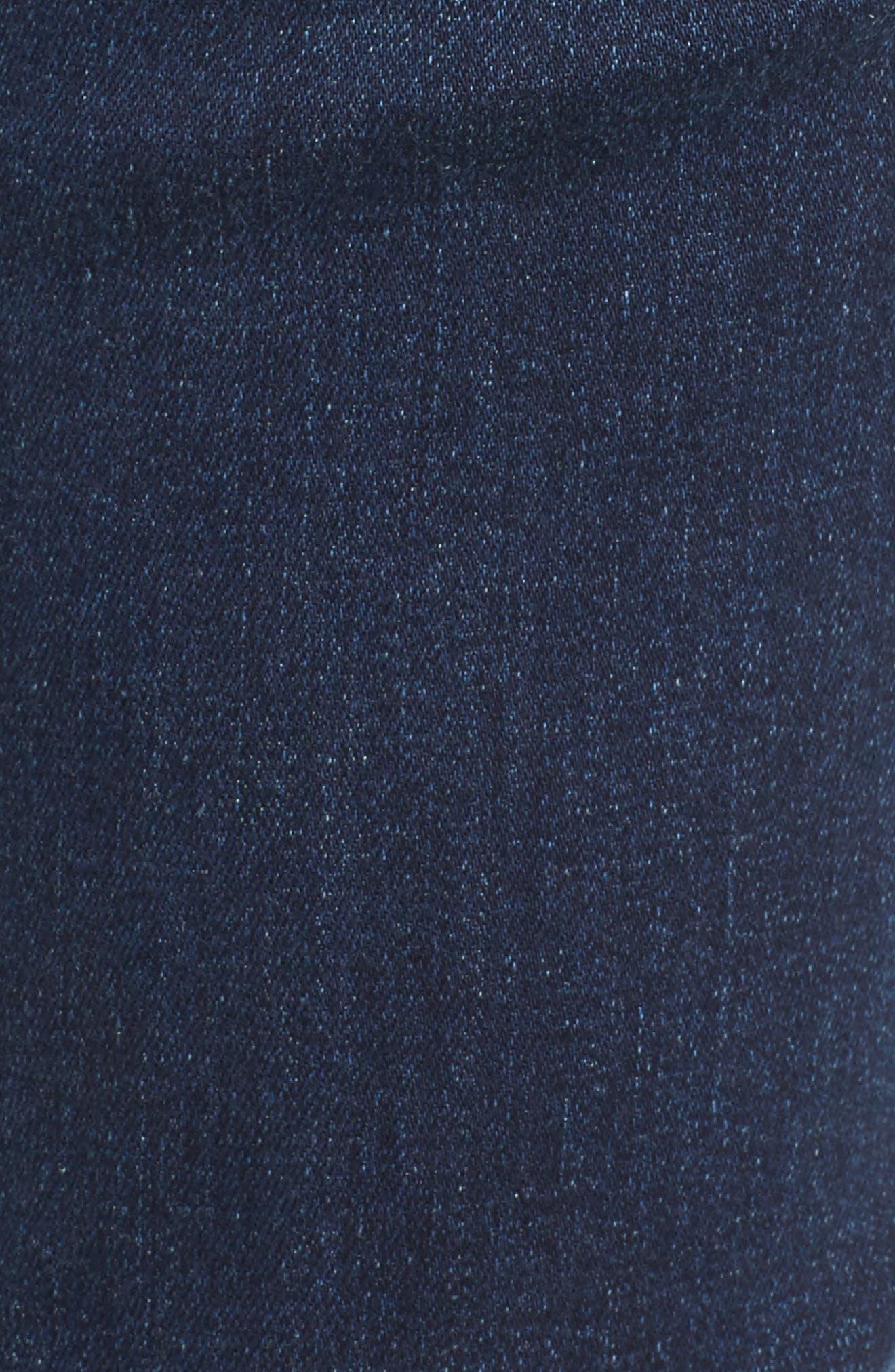 Patch Detail Step Hem Skinny Jeans,                             Alternate thumbnail 5, color,