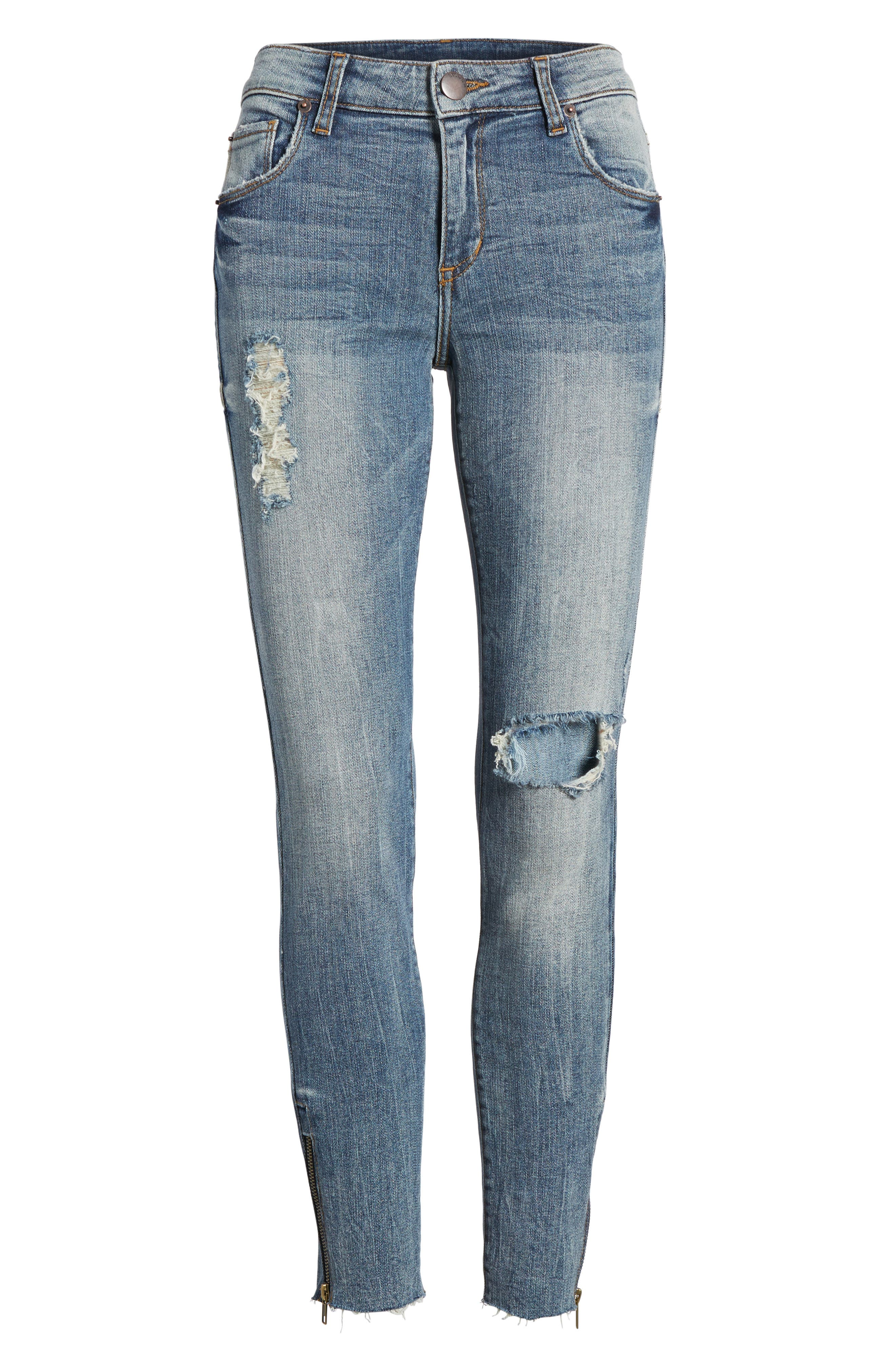 Taylor Zip Detail Skinny Ankle Jeans,                             Alternate thumbnail 6, color,                             400