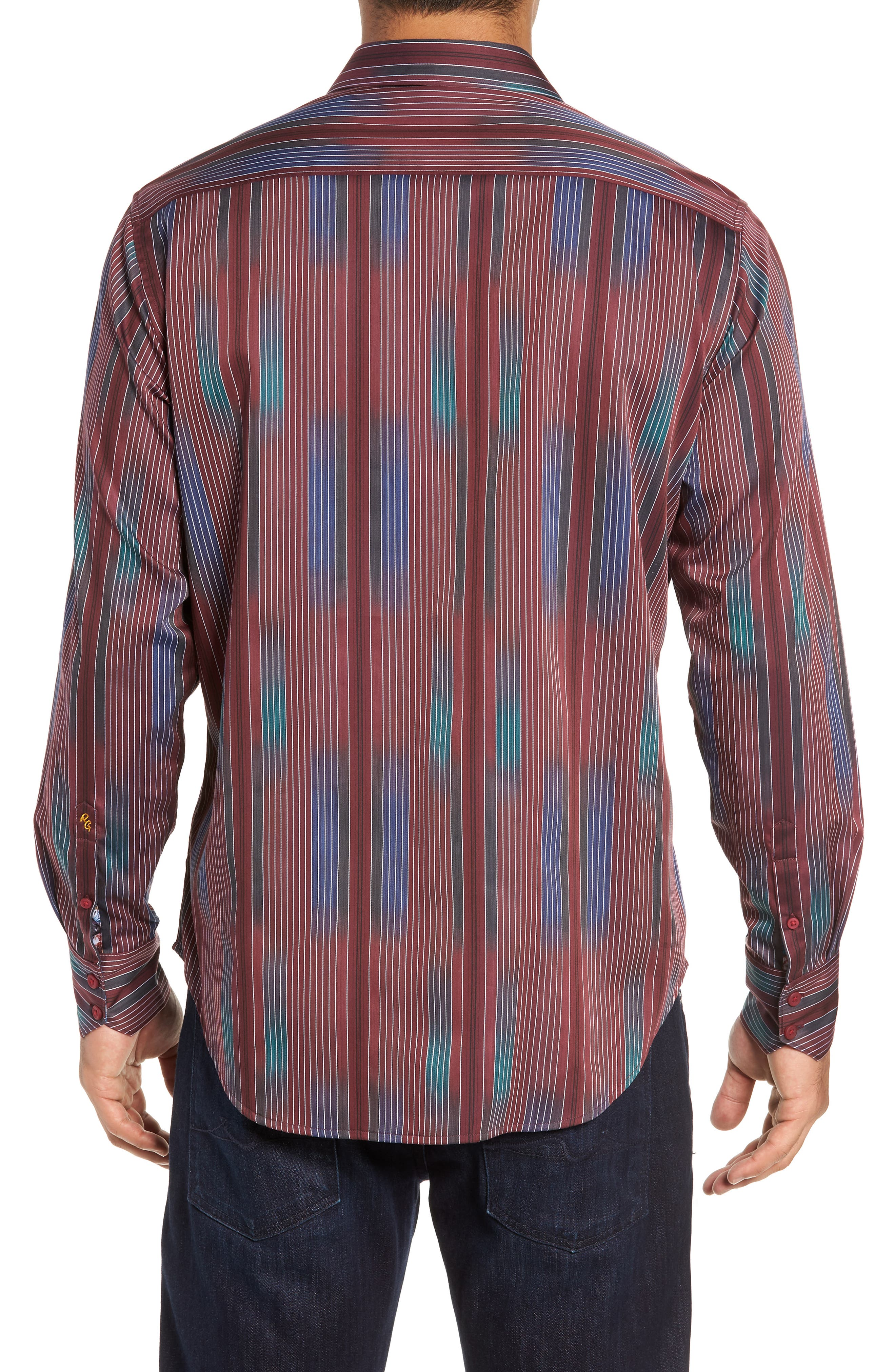 Rahman Classic Fit Sport Shirt,                             Alternate thumbnail 3, color,                             BURGUNDY