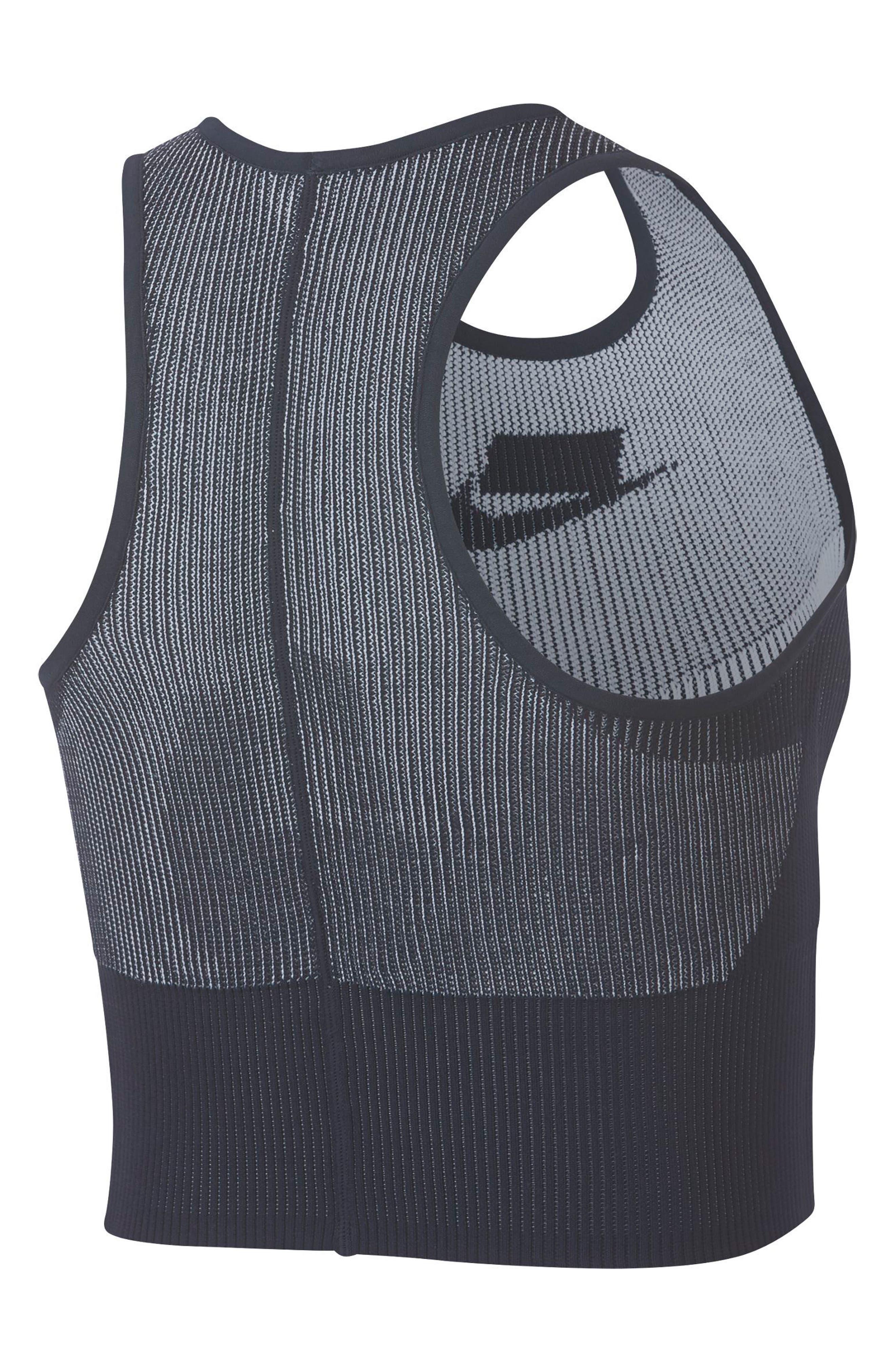 Sportswear Women's Tech Knit Crop Tank,                             Alternate thumbnail 2, color,                             DARK OBSIDIAN/ WHITE