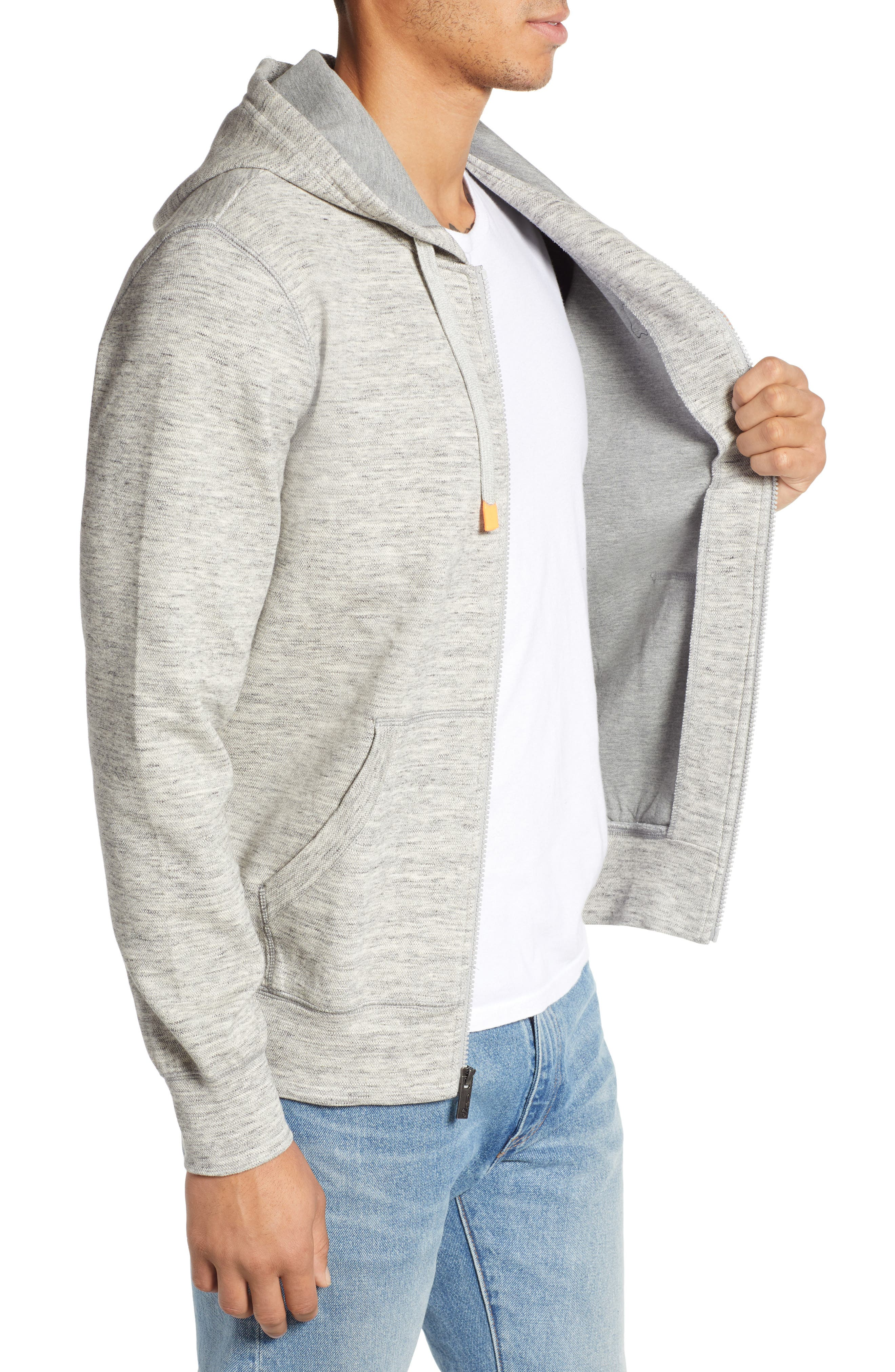 Newry Double Face Zip Hoodie,                             Alternate thumbnail 3, color,                             HEATHER GREY
