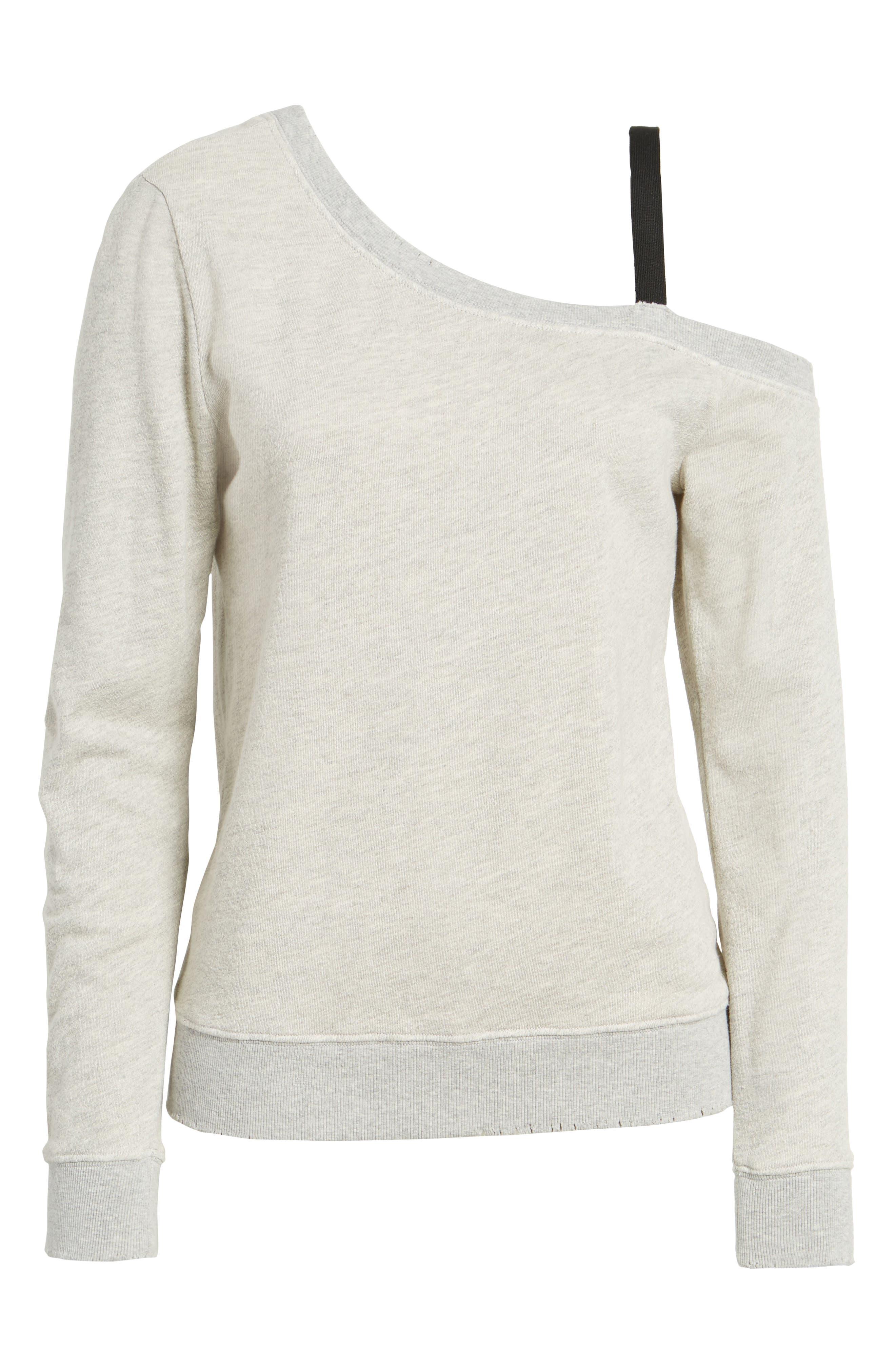 One-Shoulder Sweatshirt,                             Alternate thumbnail 6, color,