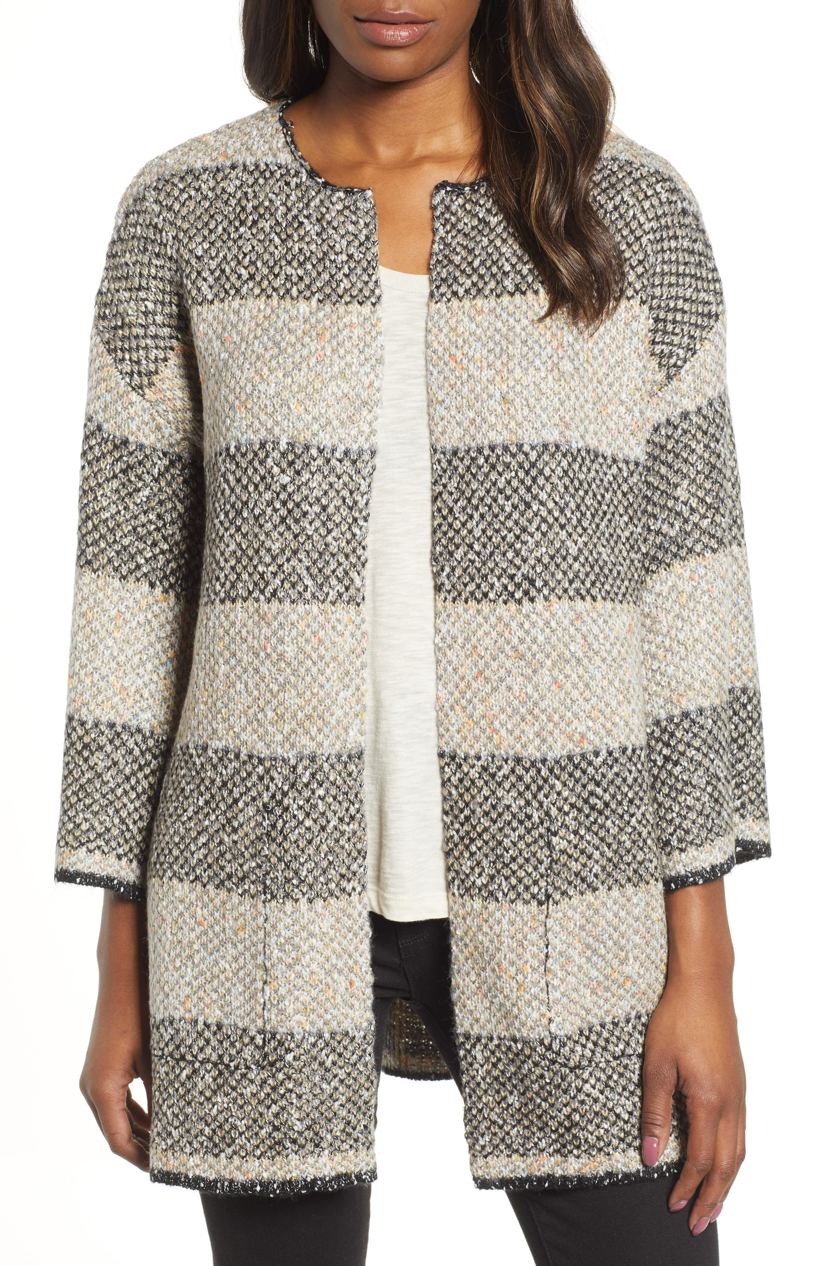 Reversible Plaid Jacquard Sweater Jacket,                             Alternate thumbnail 2, color,                             GREY