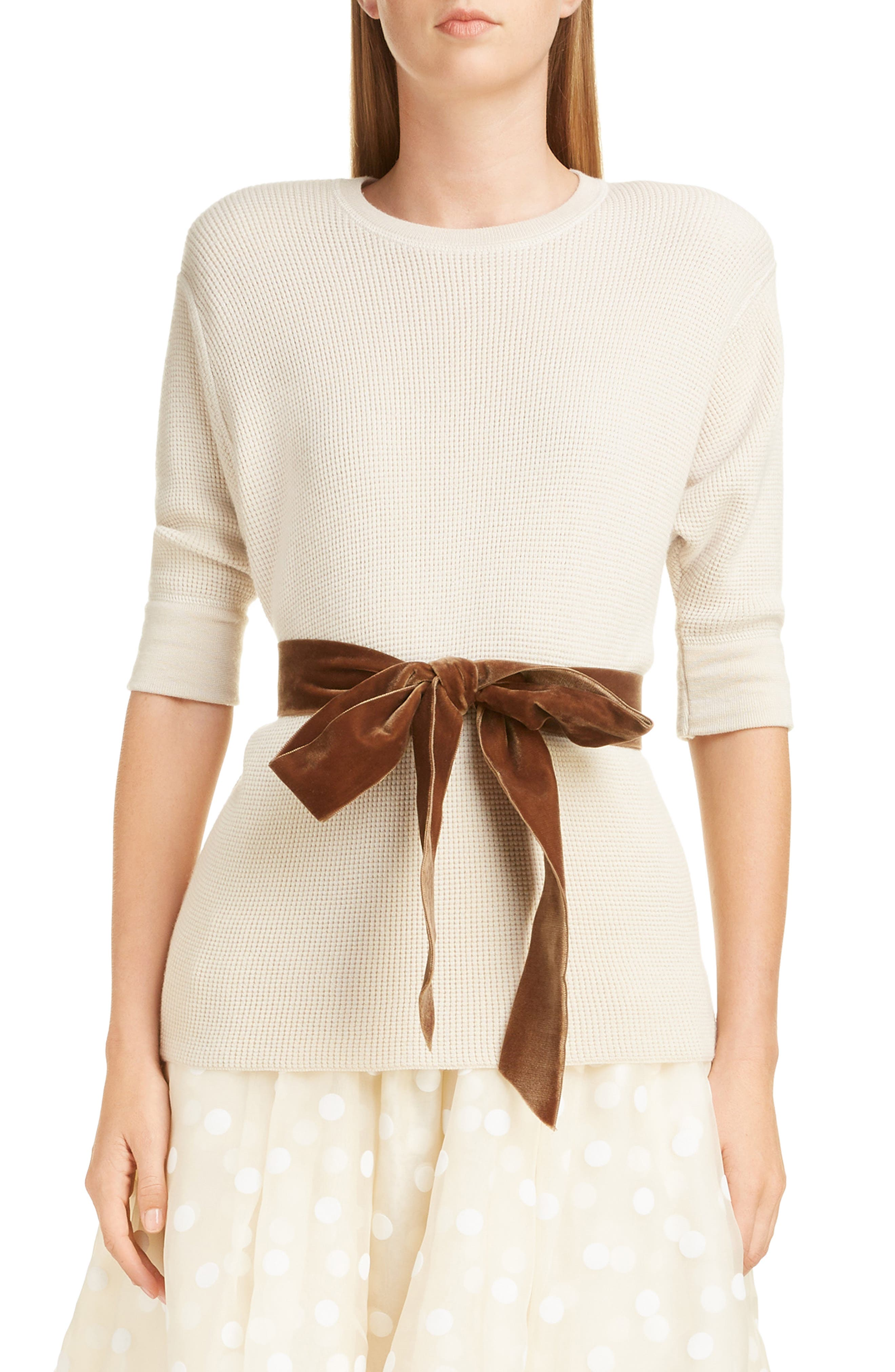Bow Detail Cashmere & Wool Blend Thermal Sweater, Main, color, IVORY