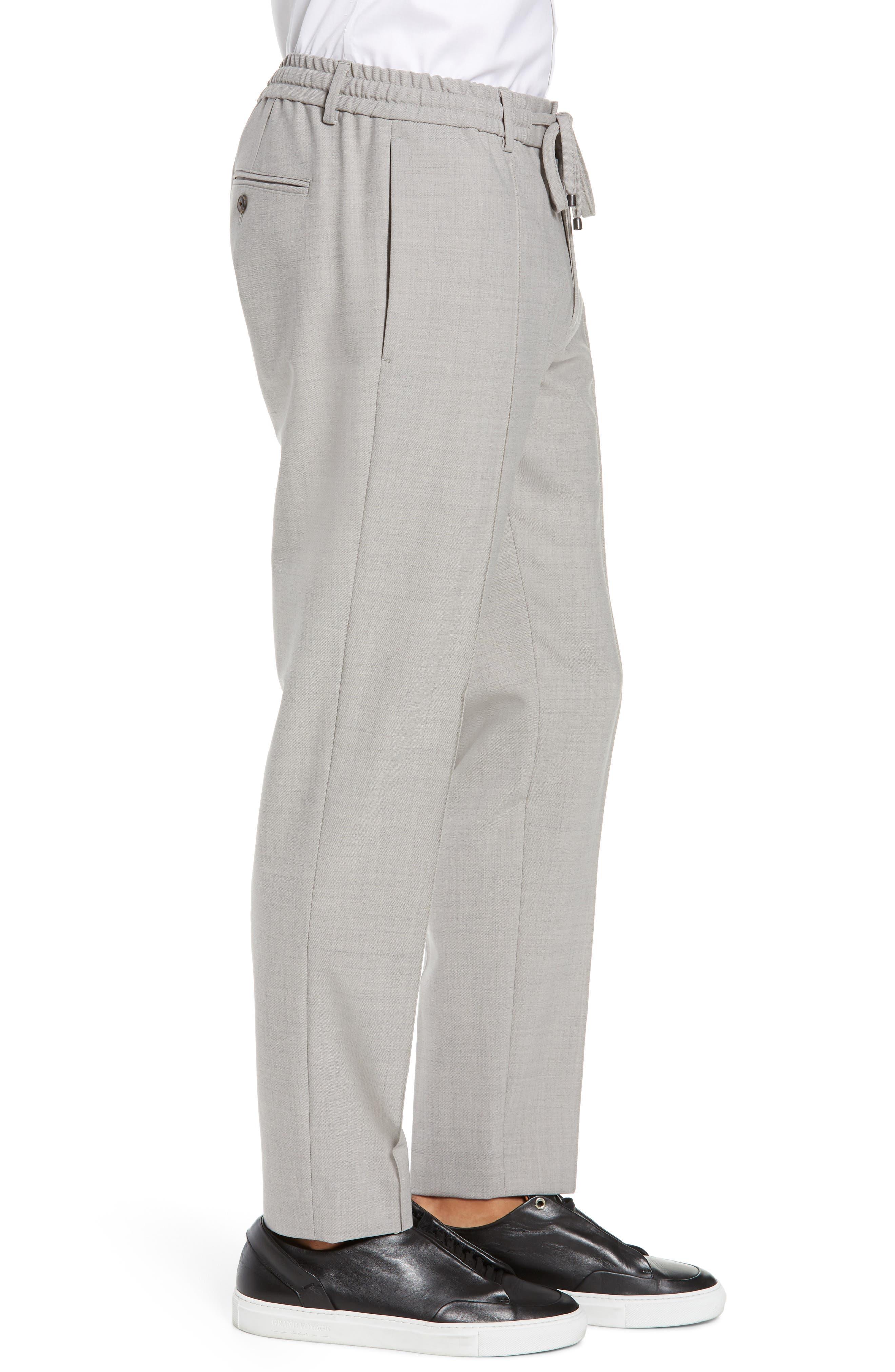 CLUB MONACO,                             Trim Fit Pintuck Pants,                             Alternate thumbnail 3, color,                             HEATHER GREY