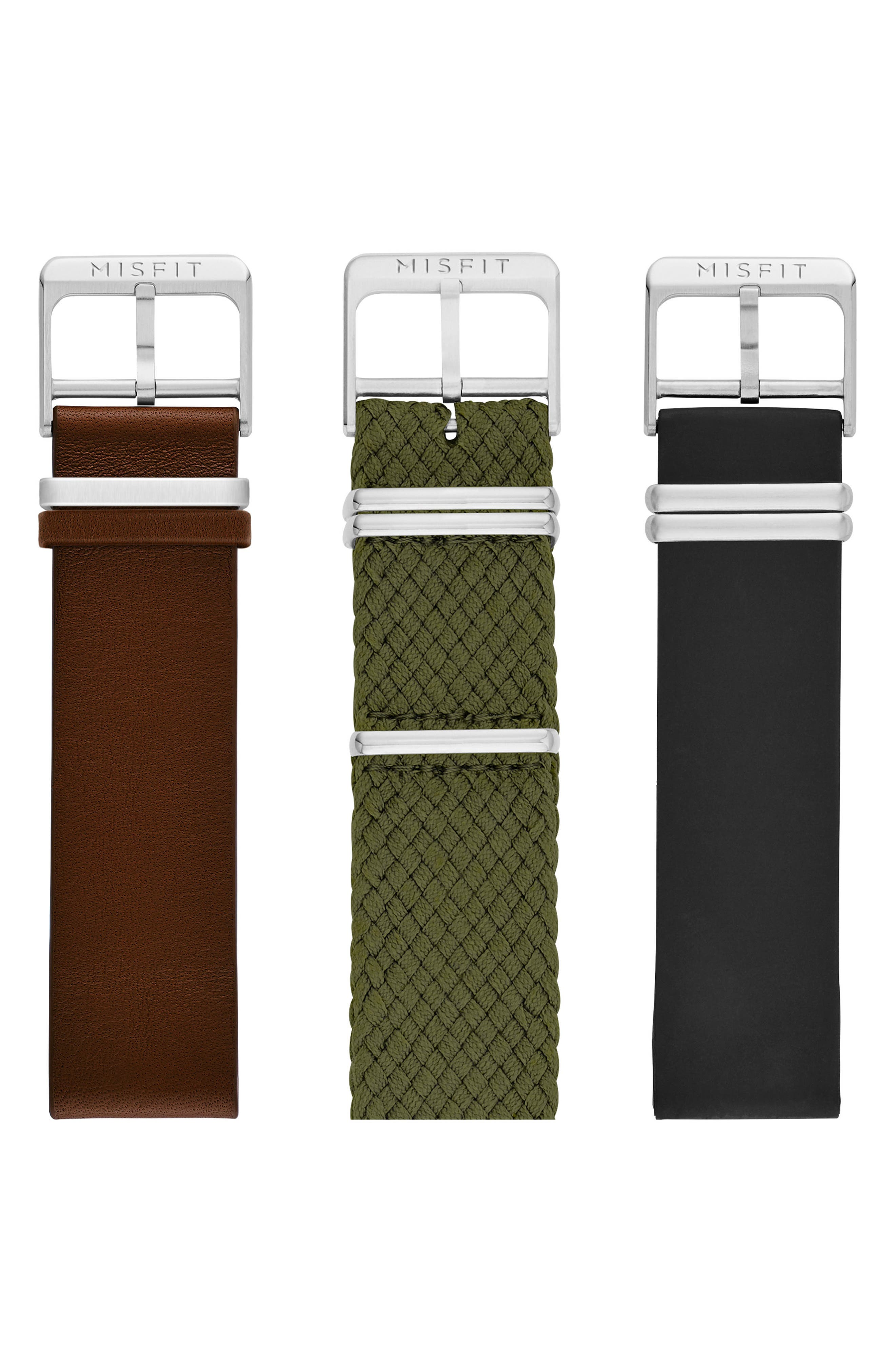 Phase Three-Pack 20mm Watch Straps,                             Main thumbnail 1, color,                             001
