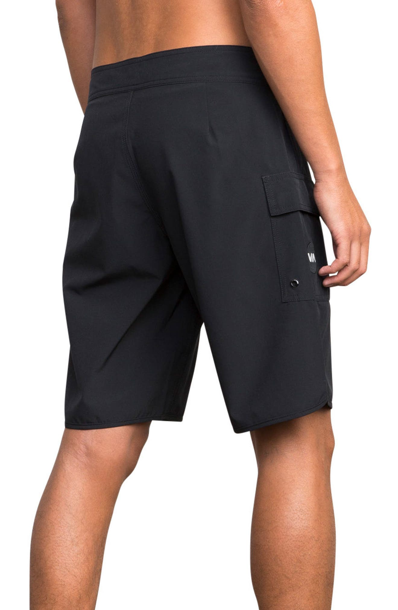 'Eastern' Scalloped Hem Board Shorts,                             Alternate thumbnail 7, color,                             ALL BLACK