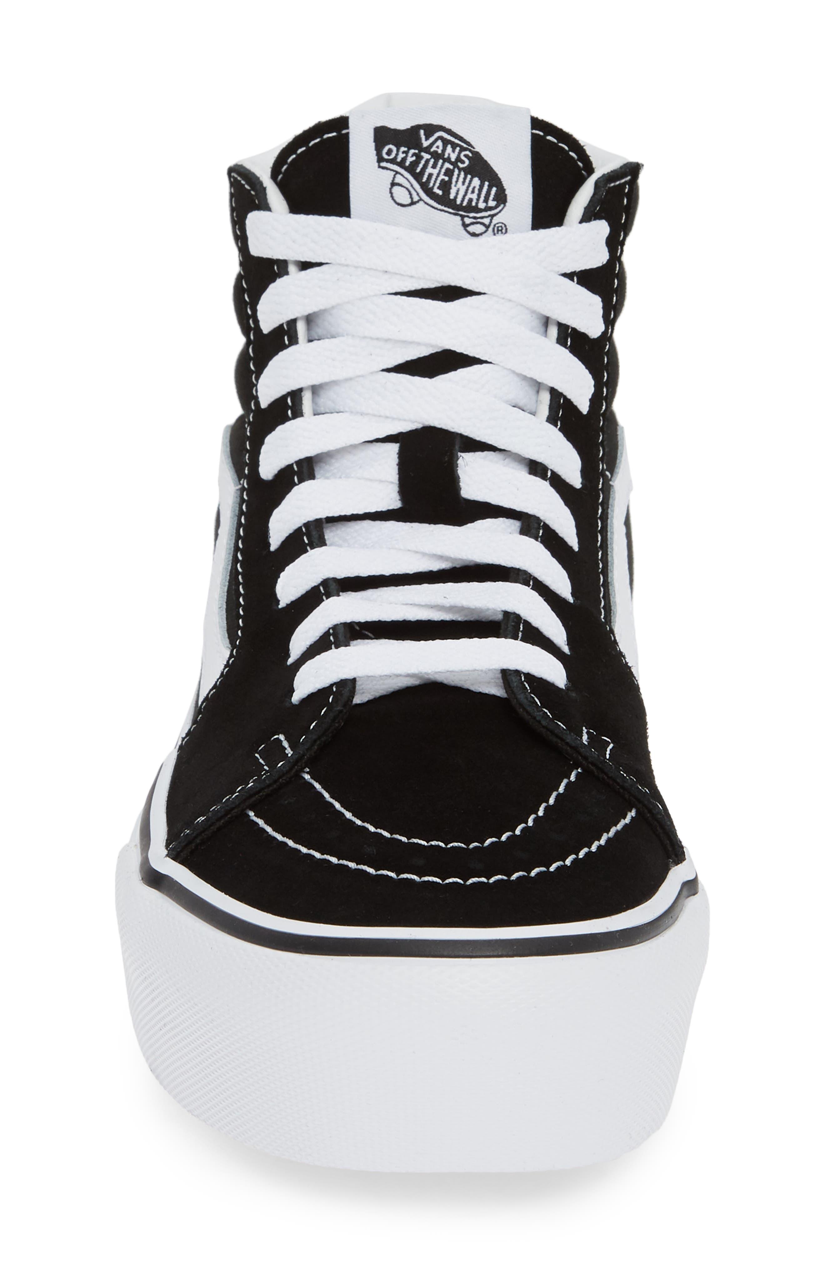 Sk8-Hi Platform Sneaker,                             Alternate thumbnail 4, color,                             BLACK/ TRUE WHITE