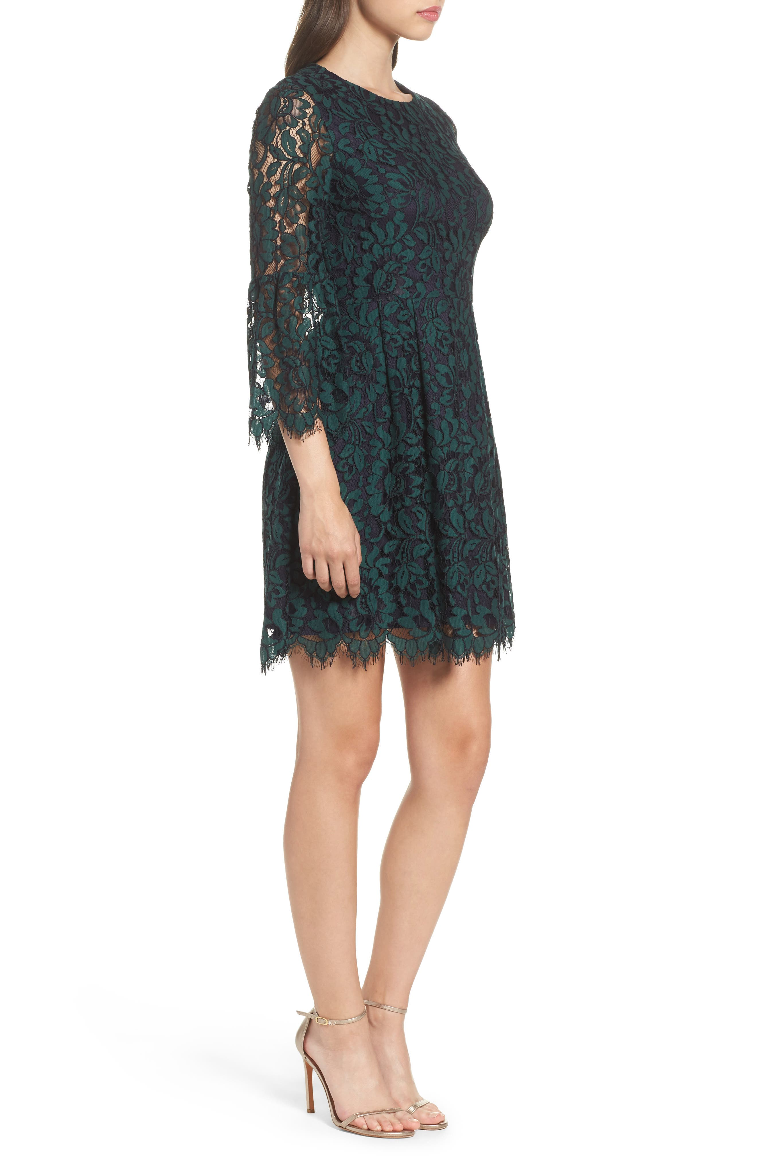 Lace Fit & Flare Dress,                             Alternate thumbnail 3, color,                             301