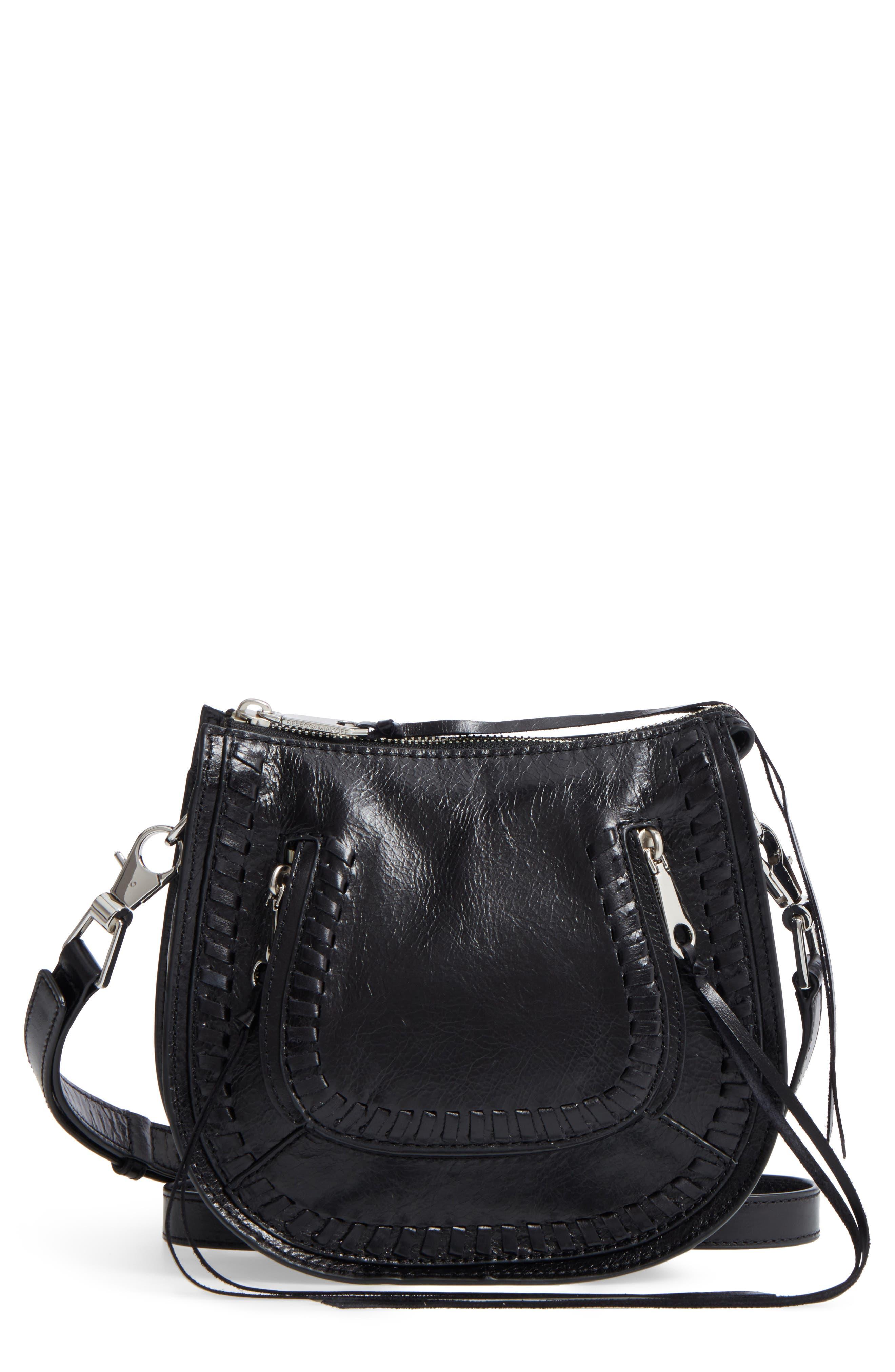 Mini Vanity Leather Saddle Bag,                             Main thumbnail 1, color,                             001