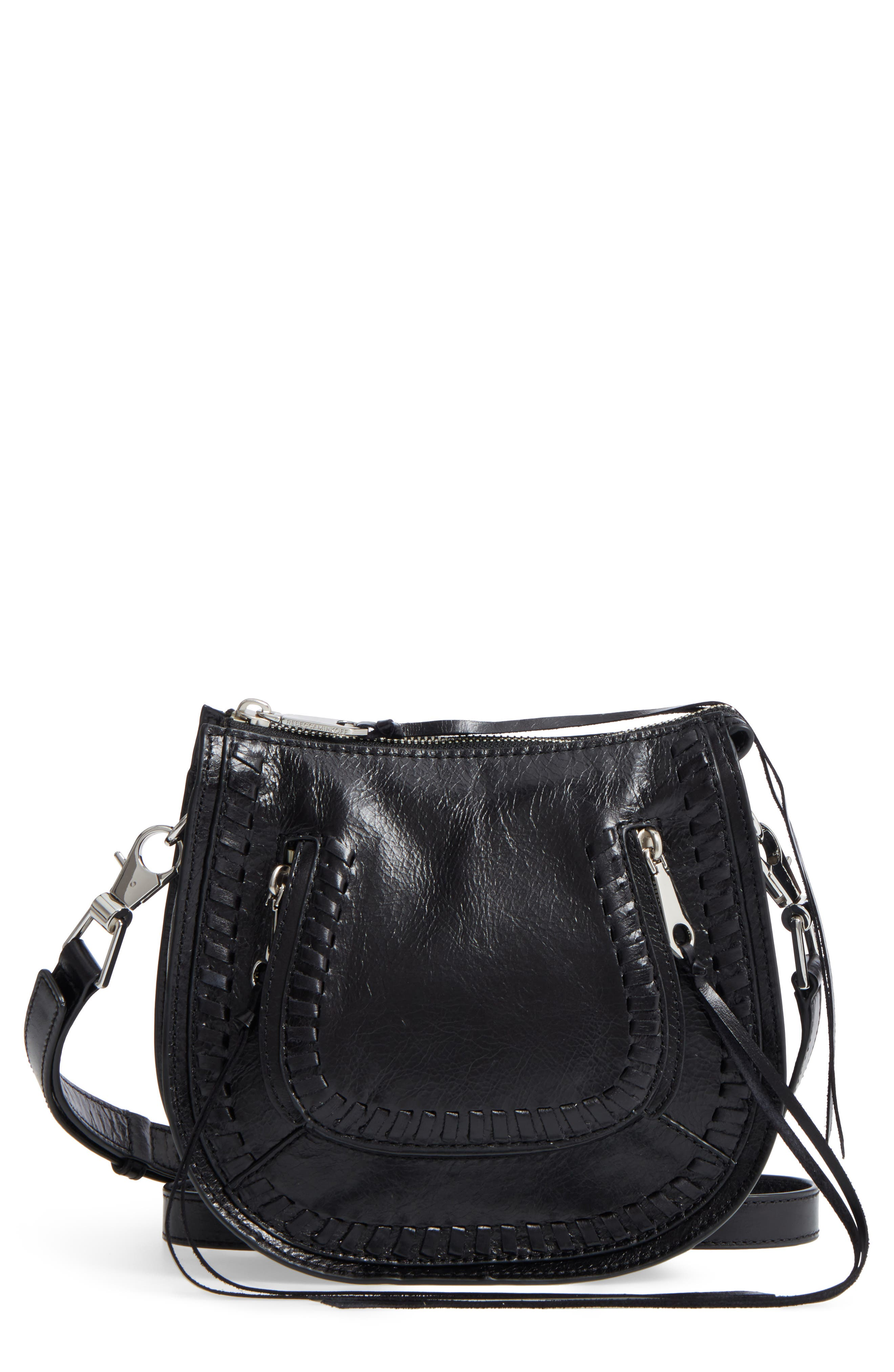 Mini Vanity Leather Saddle Bag,                         Main,                         color, 001