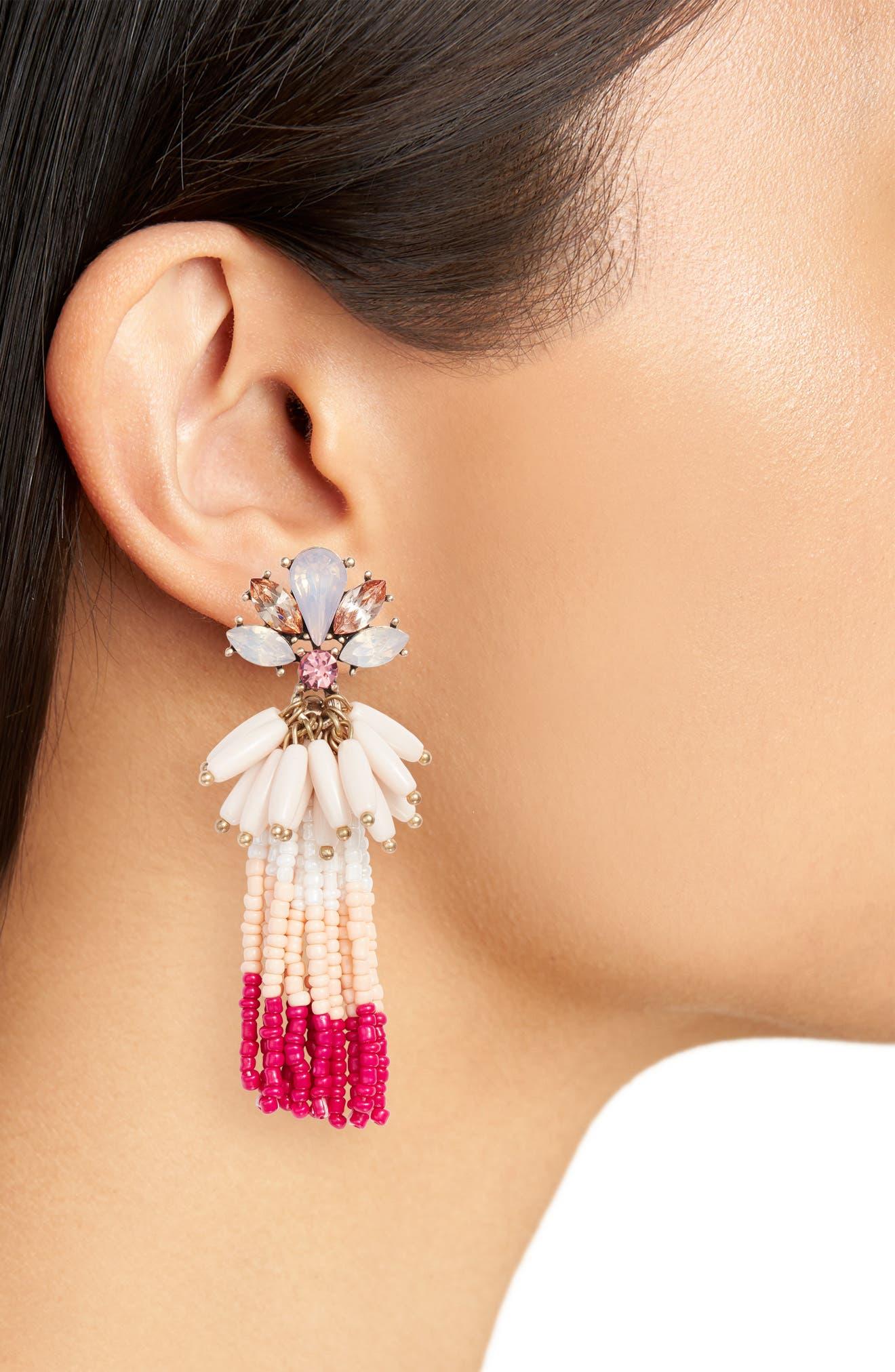 Crystal Flower Beaded Tassel Earrings,                             Alternate thumbnail 2, color,                             710