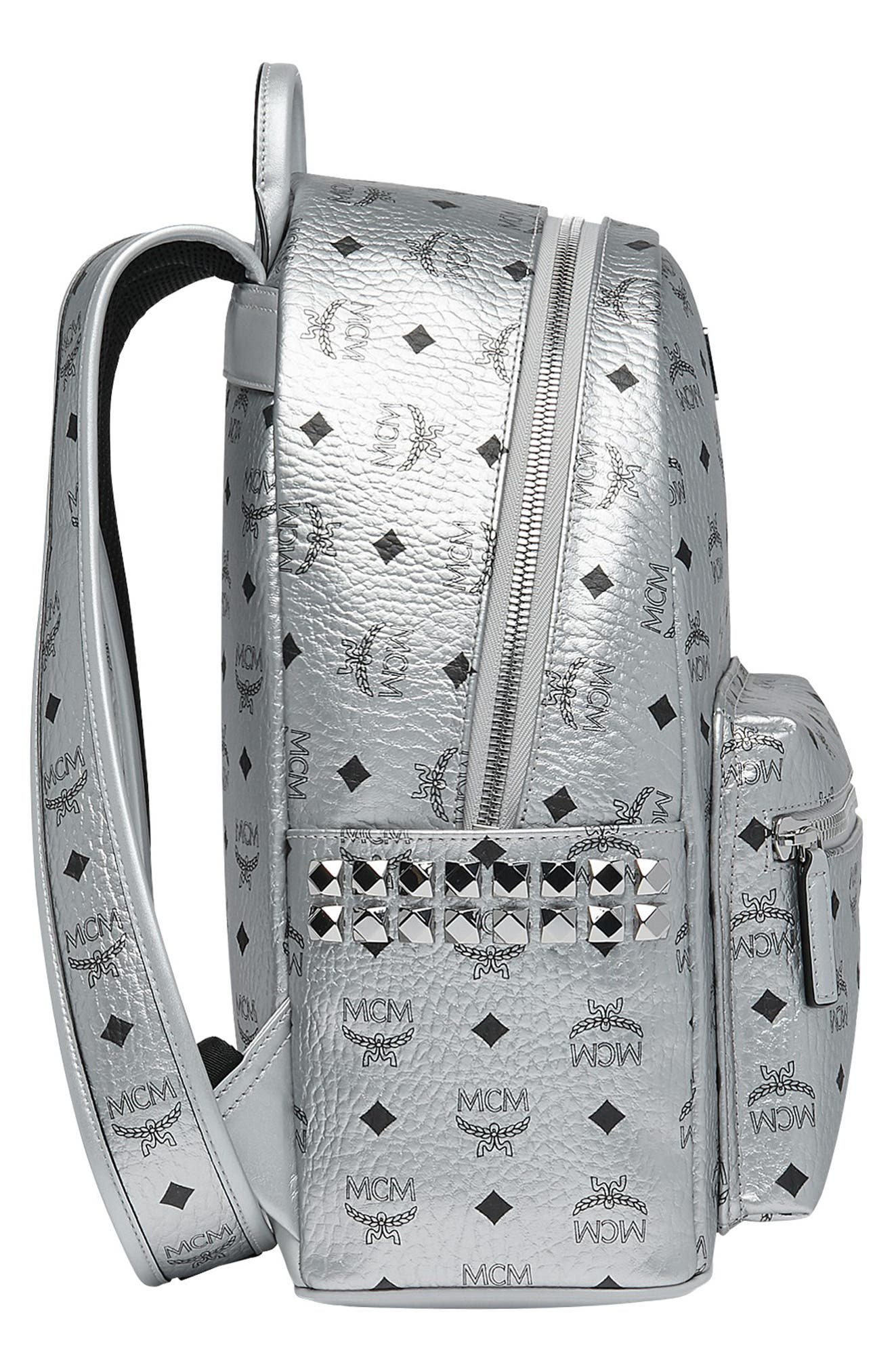 Small Stark Side Stud Metallic Faux Leather Backpack,                             Alternate thumbnail 4, color,                             BERLIN SILVER