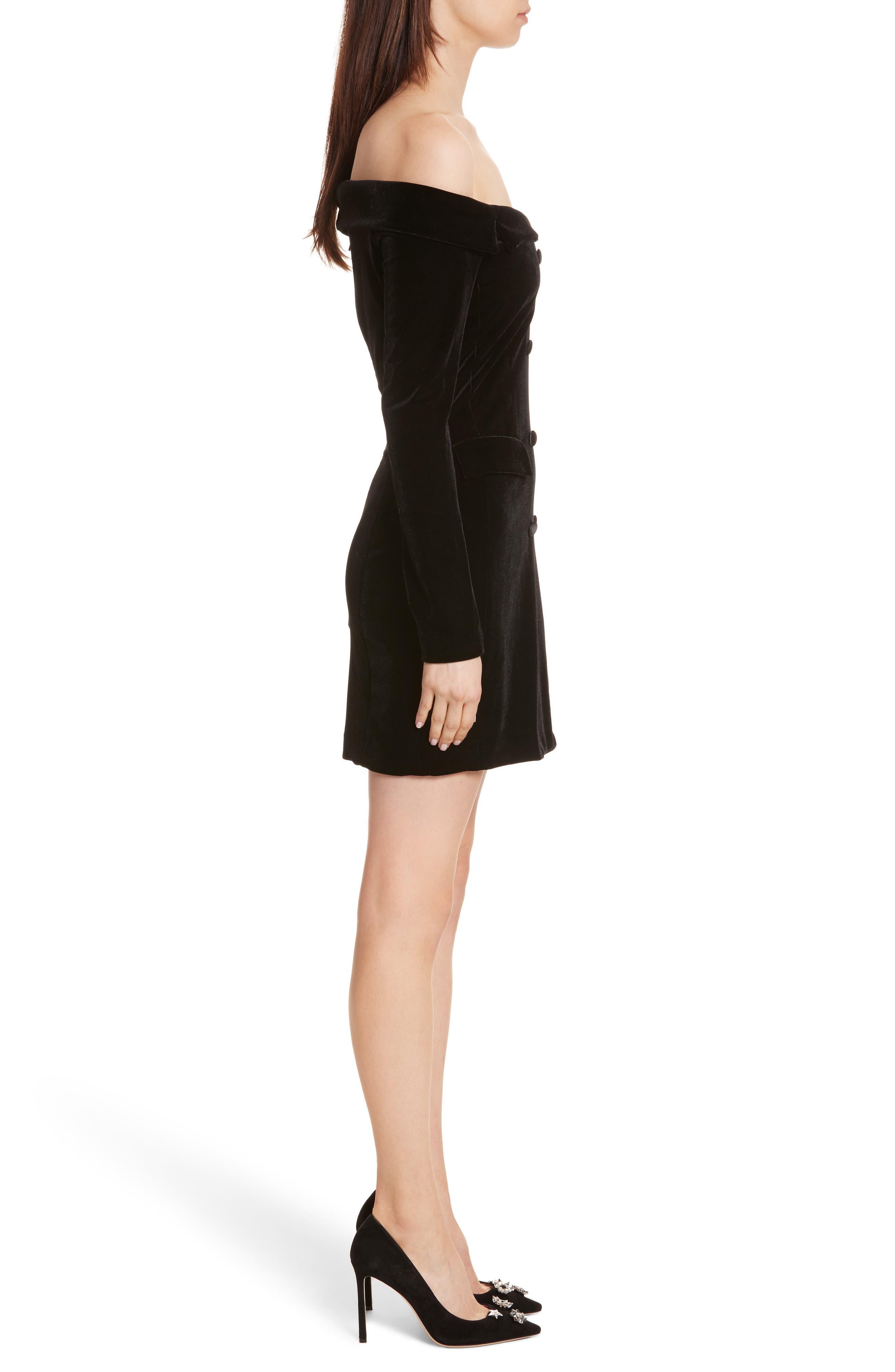 Velvet Jacket Dress,                             Alternate thumbnail 3, color,                             001