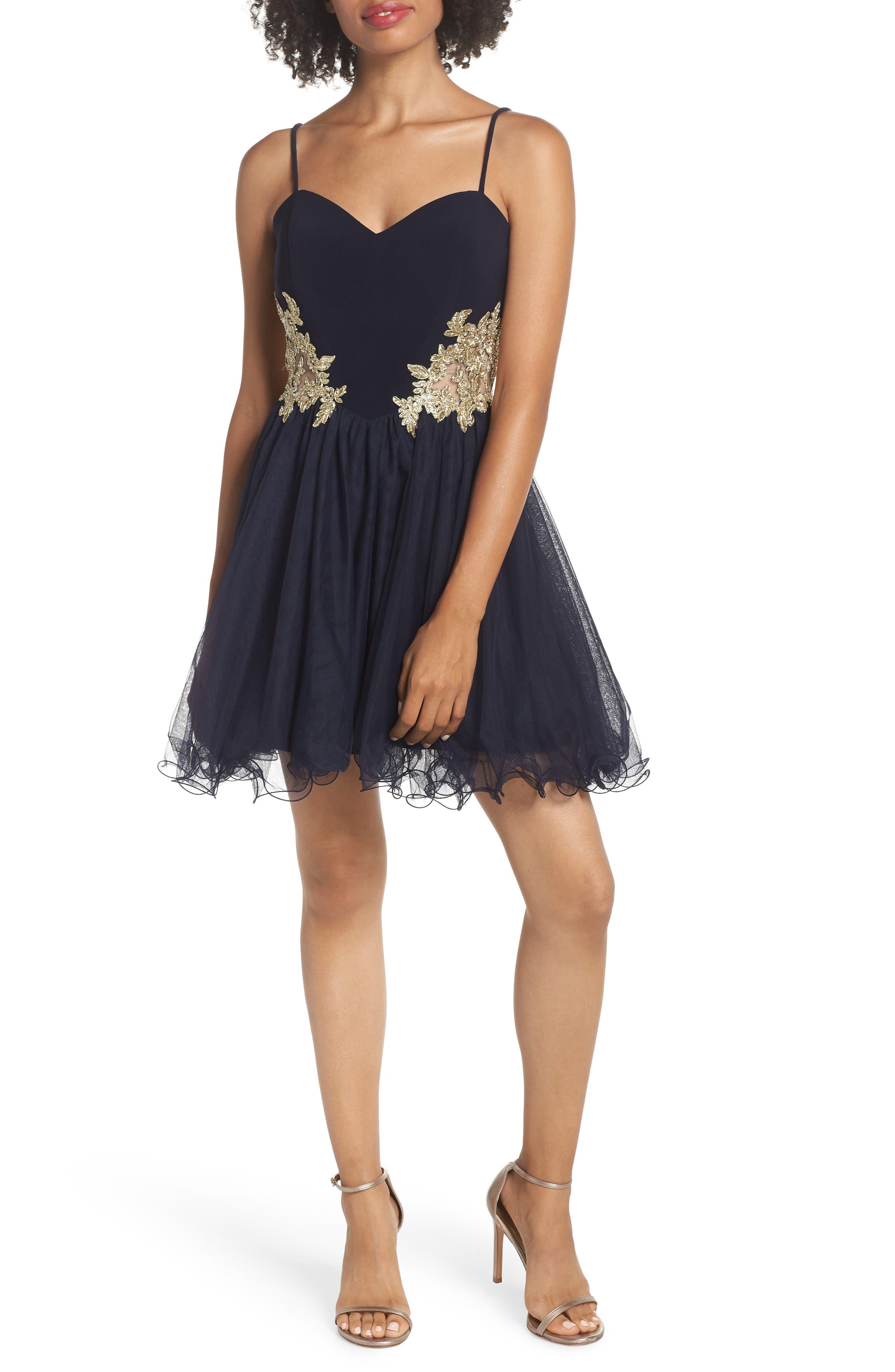 Blondie Nites Applique Sweetheart Fit & Flare Dress, Blue