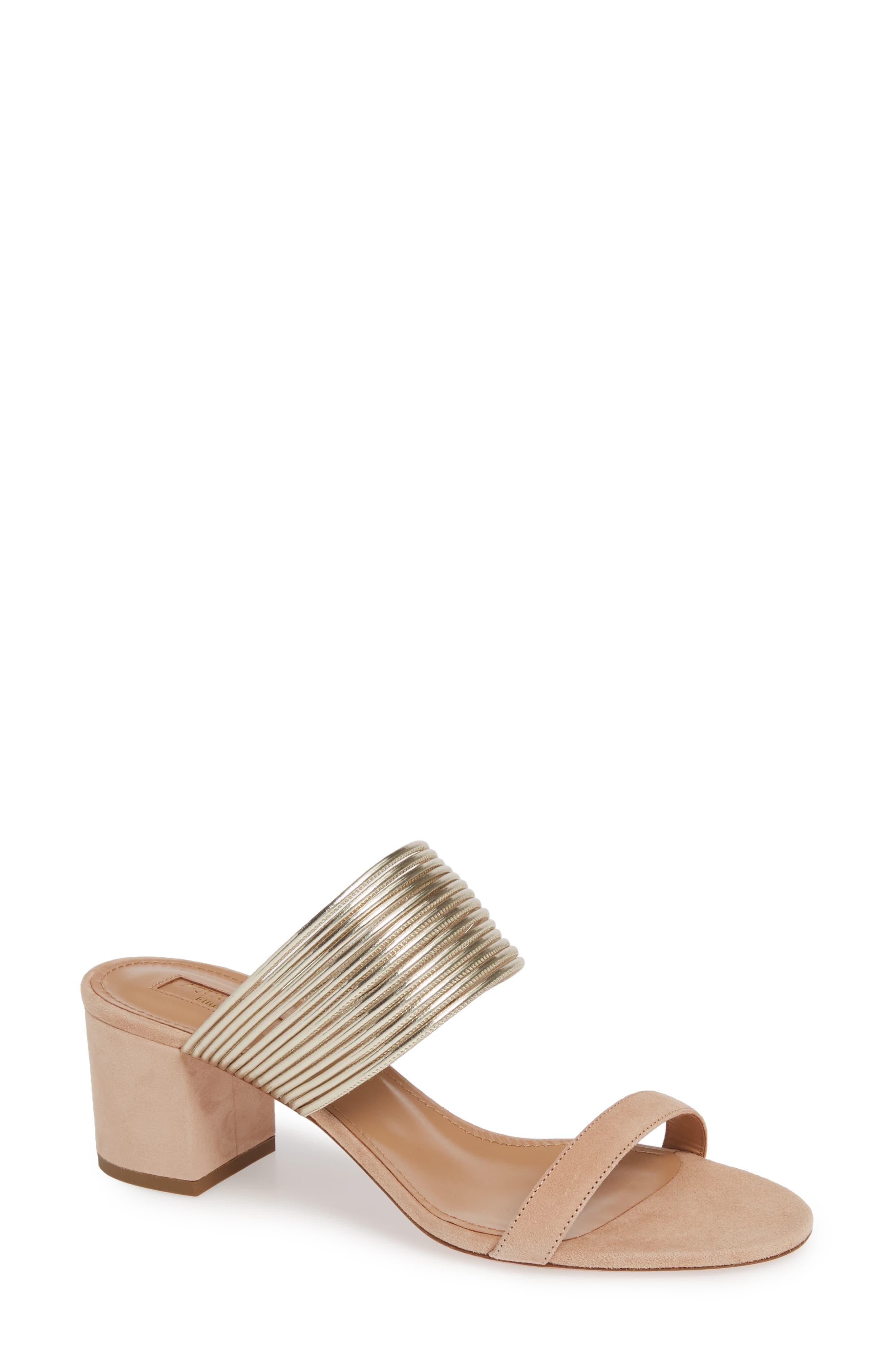 AQUAZZURA Rendez Vous Slide Sandal, Main, color, POWDER PINK SUEDE