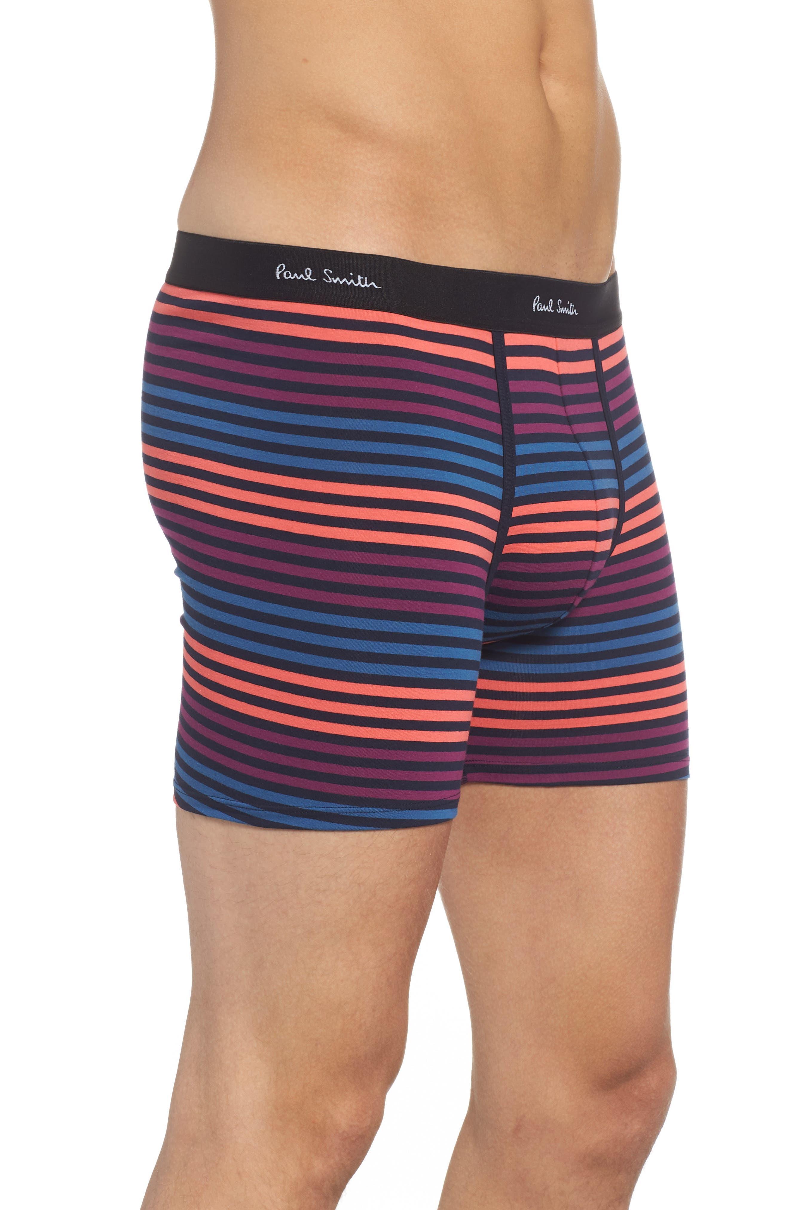 Long Leg Stretch Cotton Boxer Briefs,                             Alternate thumbnail 3, color,                             BLUE