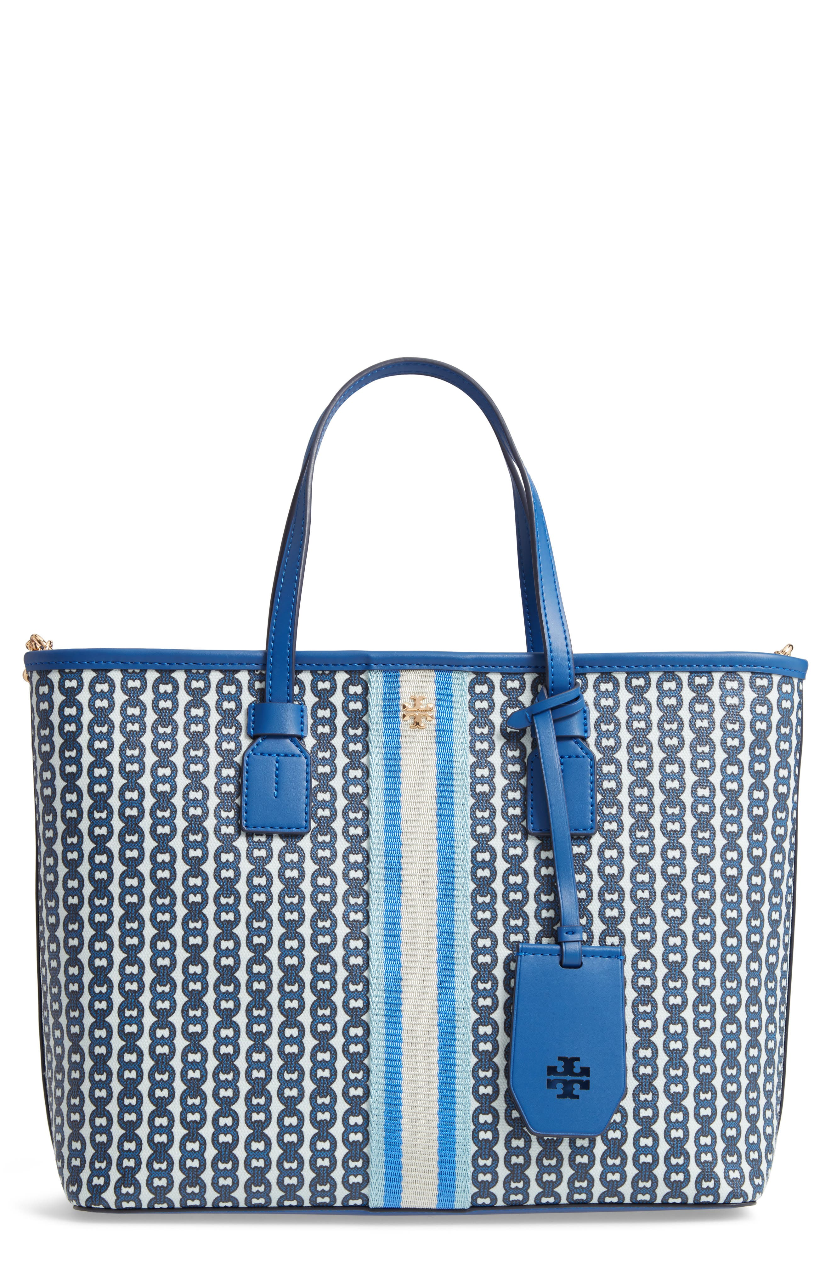 d3142b02a2dc Tory Burch Small Gemini Link Coated Canvas Tote - Blue