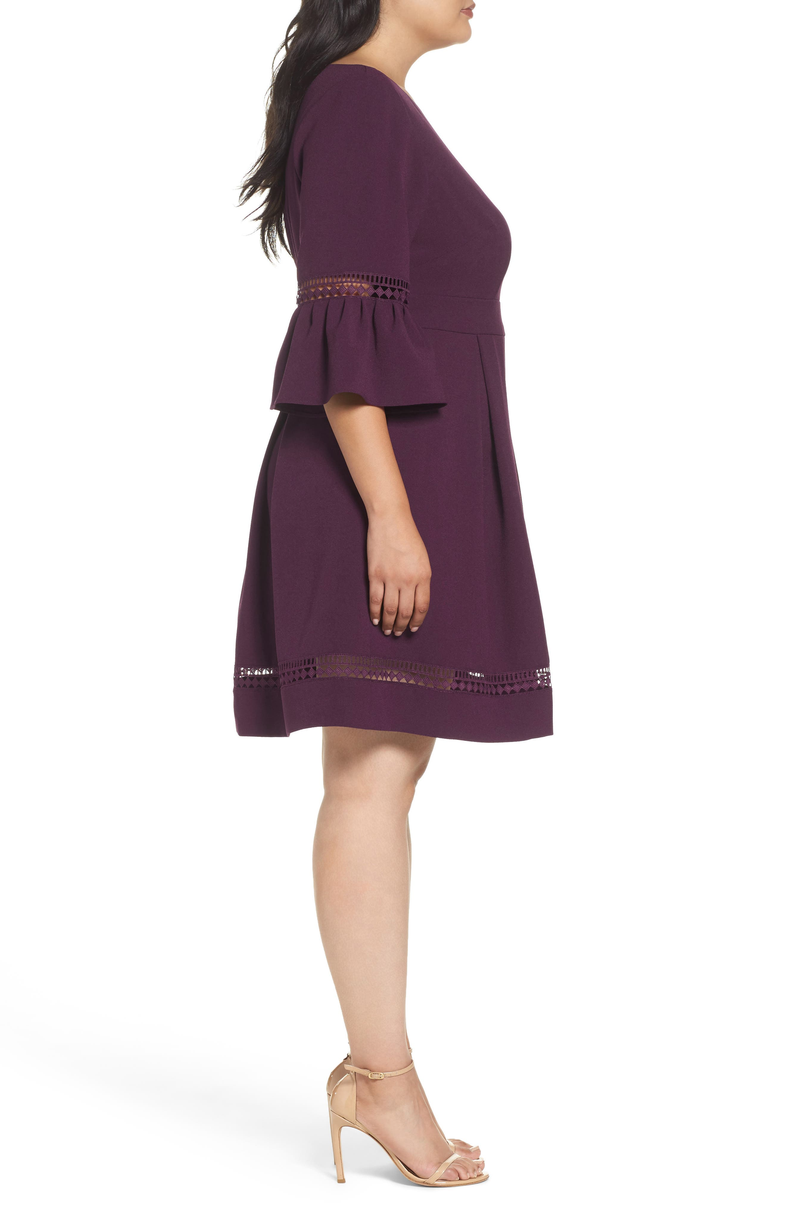 Bell Sleeve Fit & Flare Dress,                             Alternate thumbnail 3, color,                             PURPLE