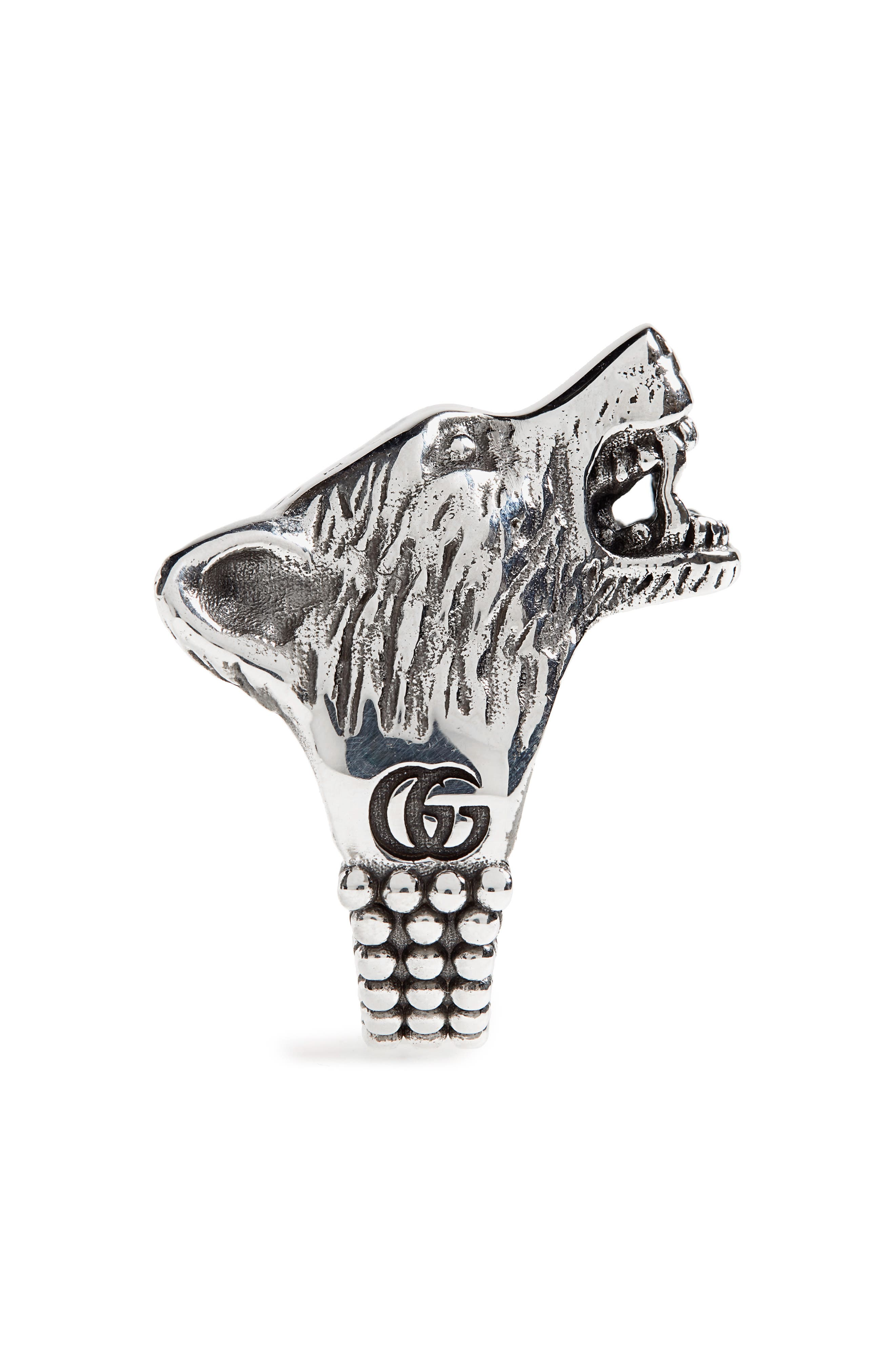 Wolf Head Sterling Silver Ring,                             Alternate thumbnail 2, color,                             SILVER