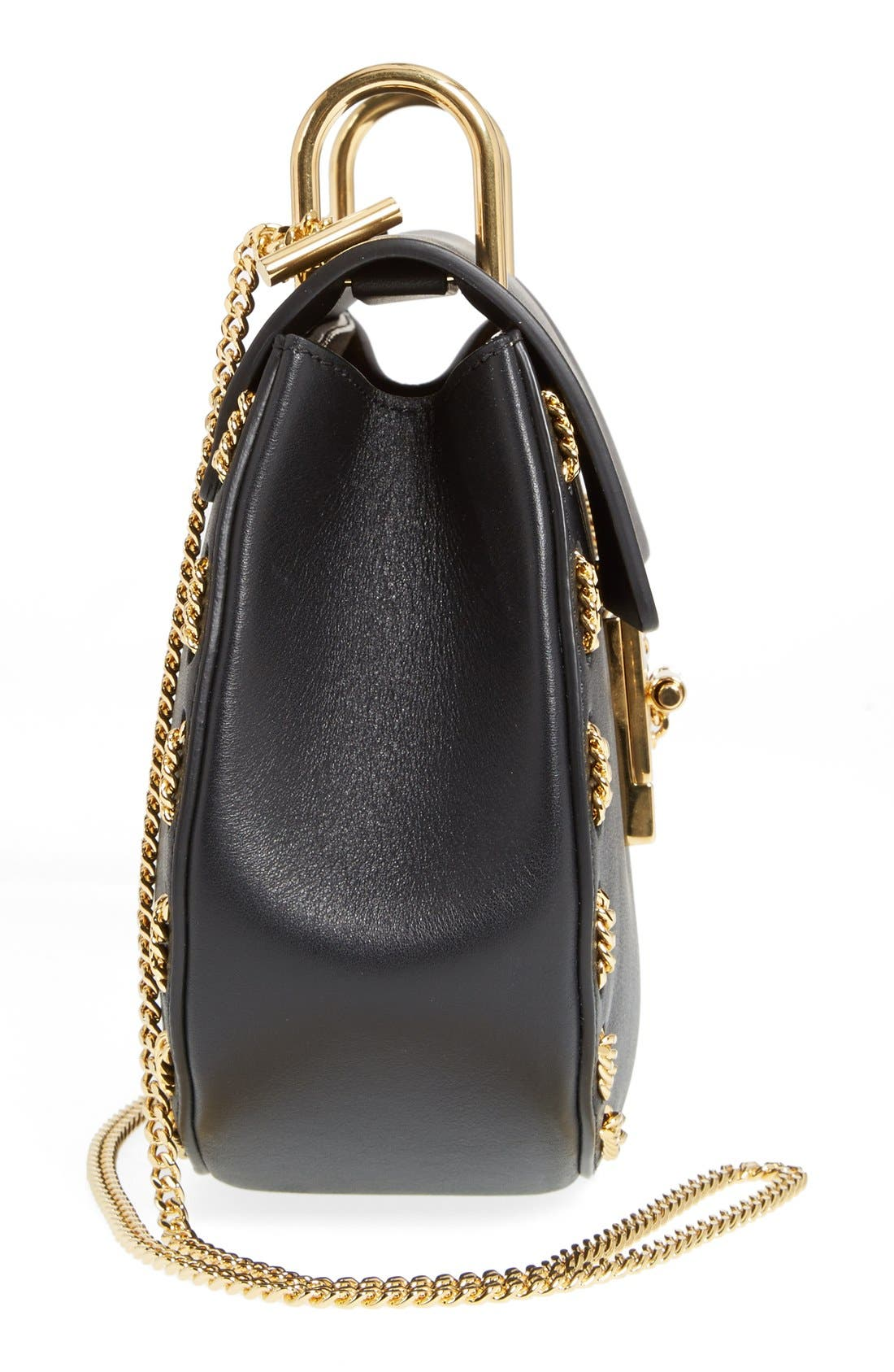 'Small Drew' Leather & Chain Link Crossbody Bag,                             Alternate thumbnail 4, color,                             001