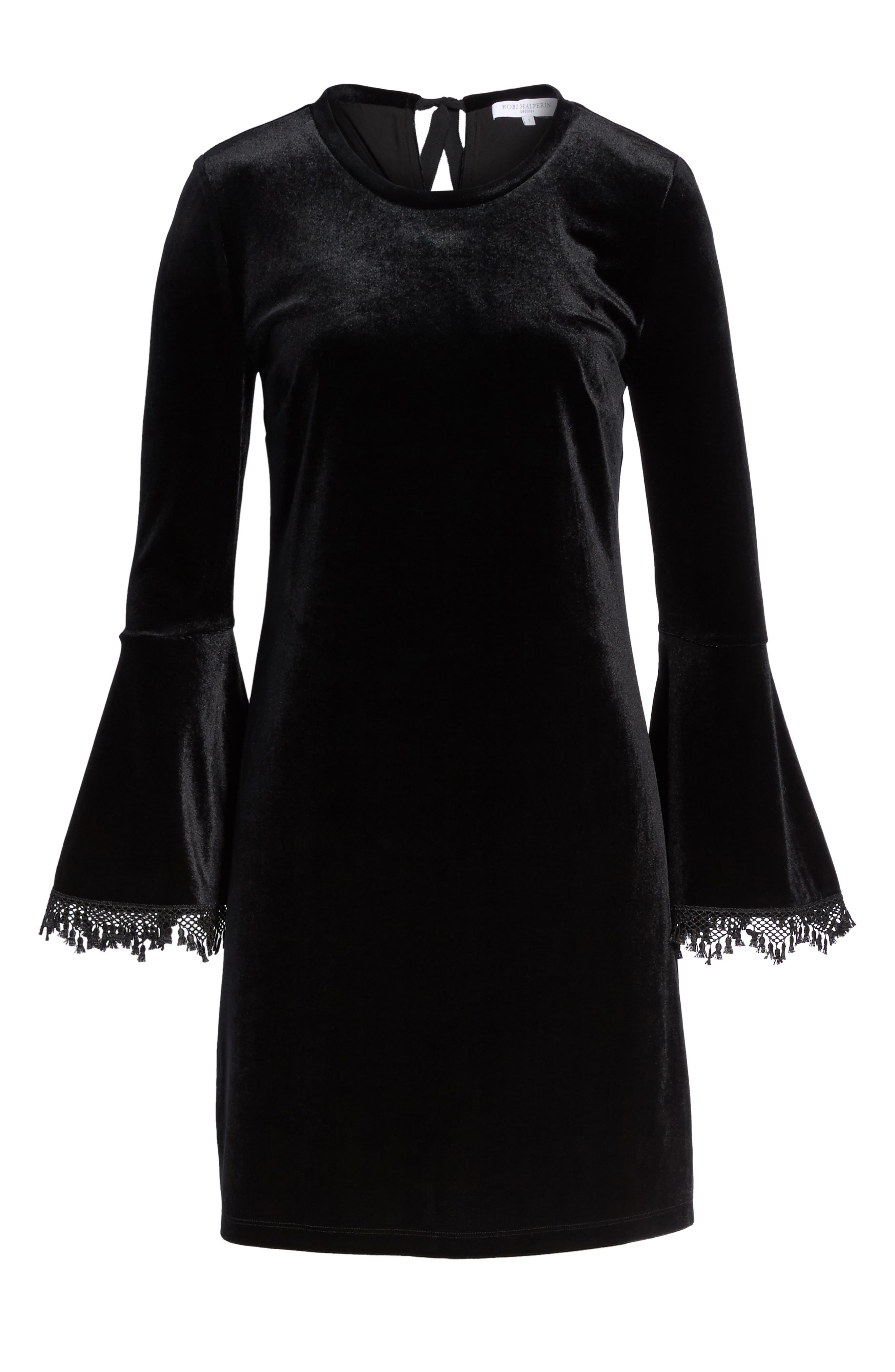 Hallie Bell Sleeve Velvet Dress,                             Alternate thumbnail 6, color,                             001