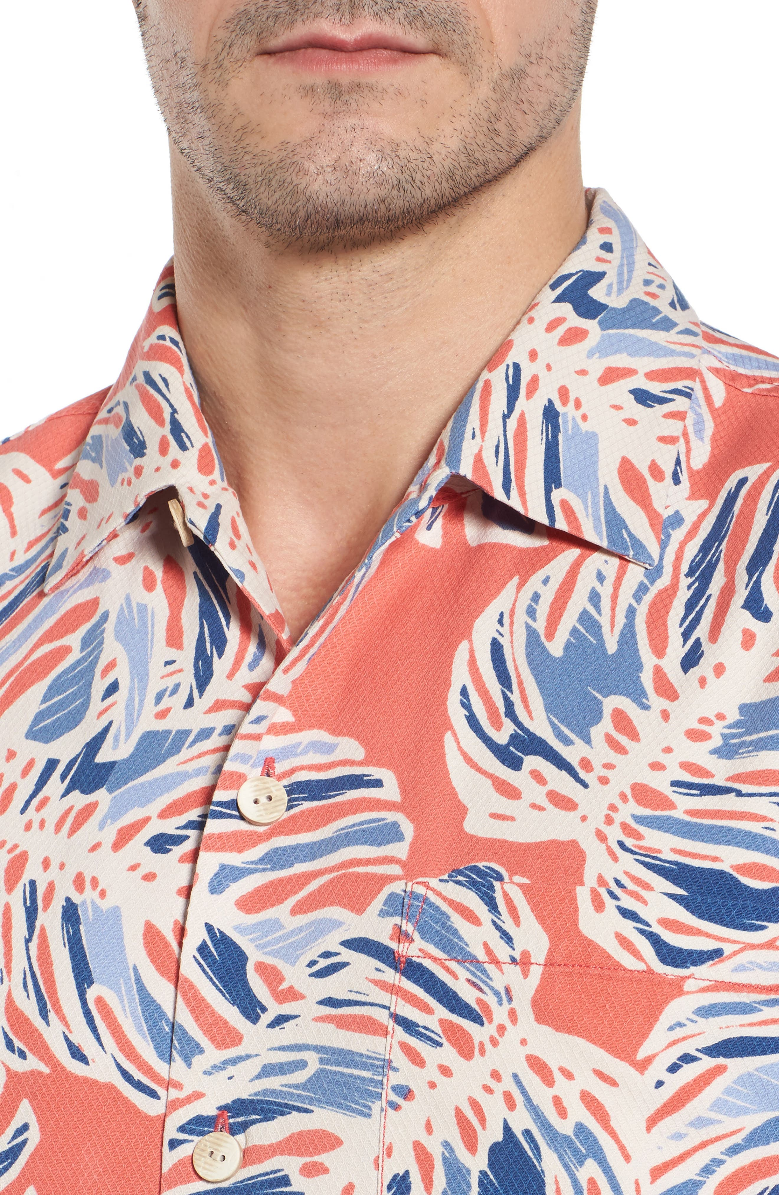 Leaf It to Chance Silk Camp Shirt,                             Alternate thumbnail 4, color,