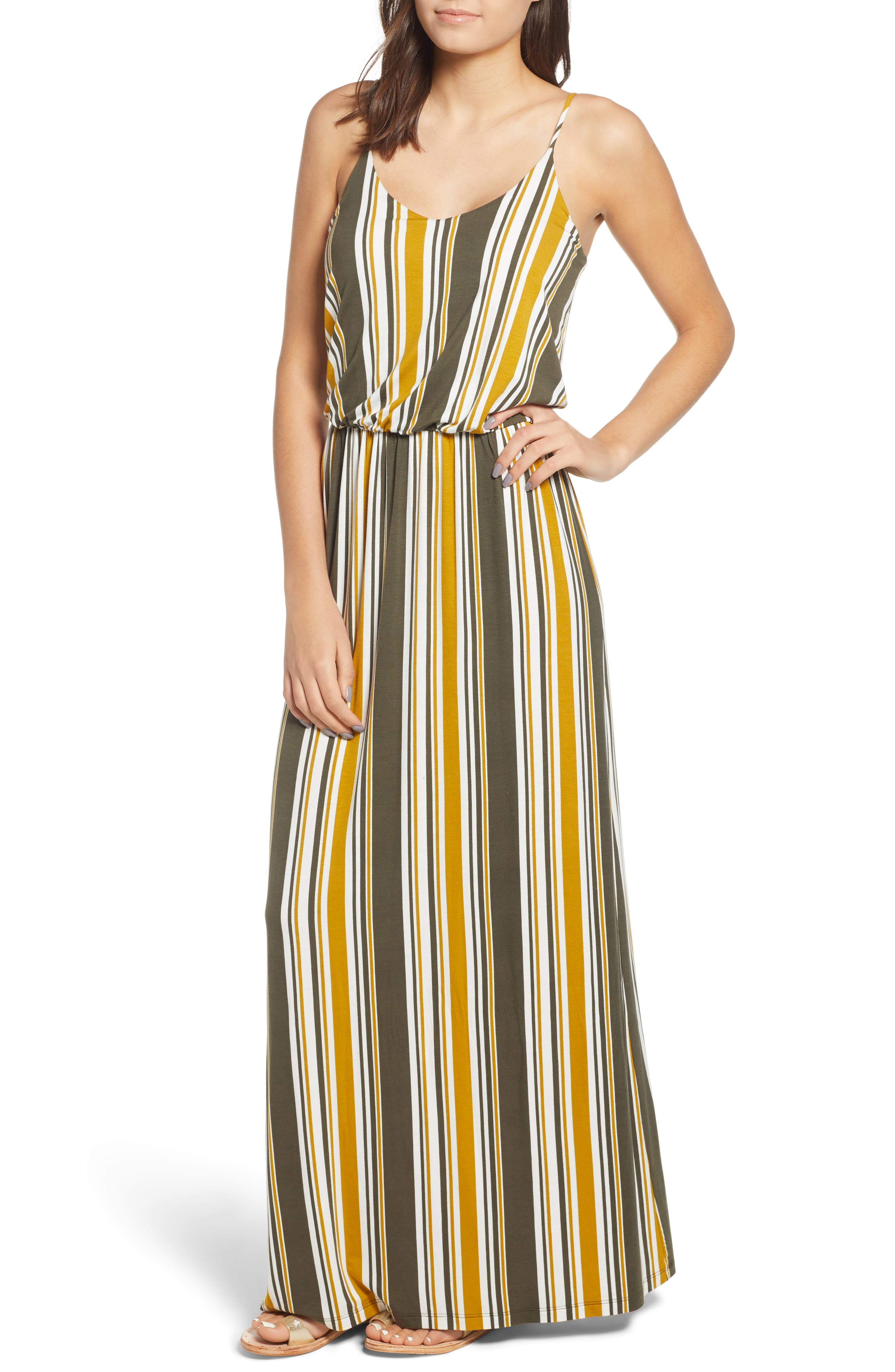 --- Knit Maxi Dress, Main, color, ARMY GREEN/ MUSTARD
