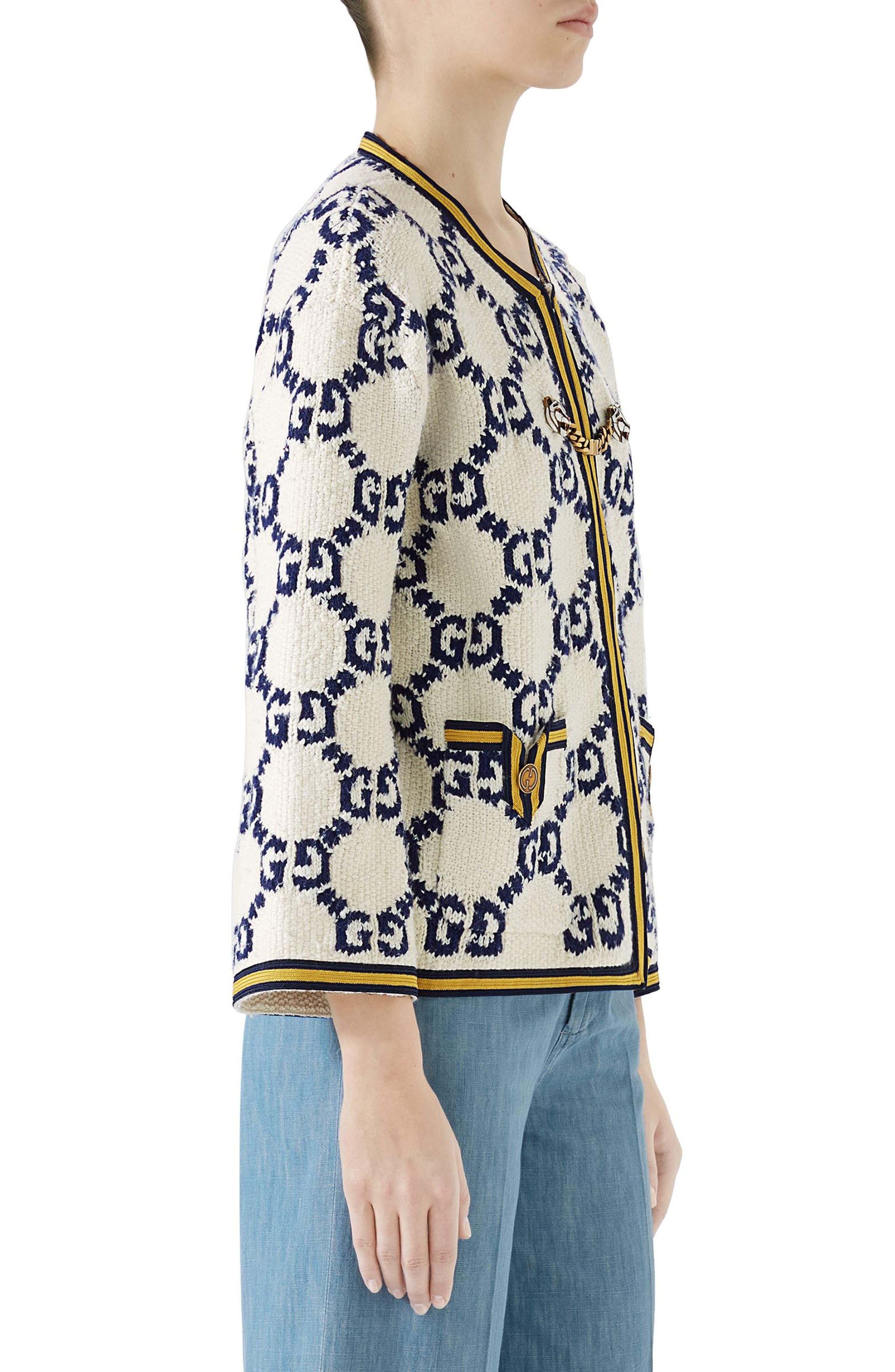 GG Textured Silk, Wool & Linen Tweed Jacket,                             Alternate thumbnail 3, color,                             MULTI